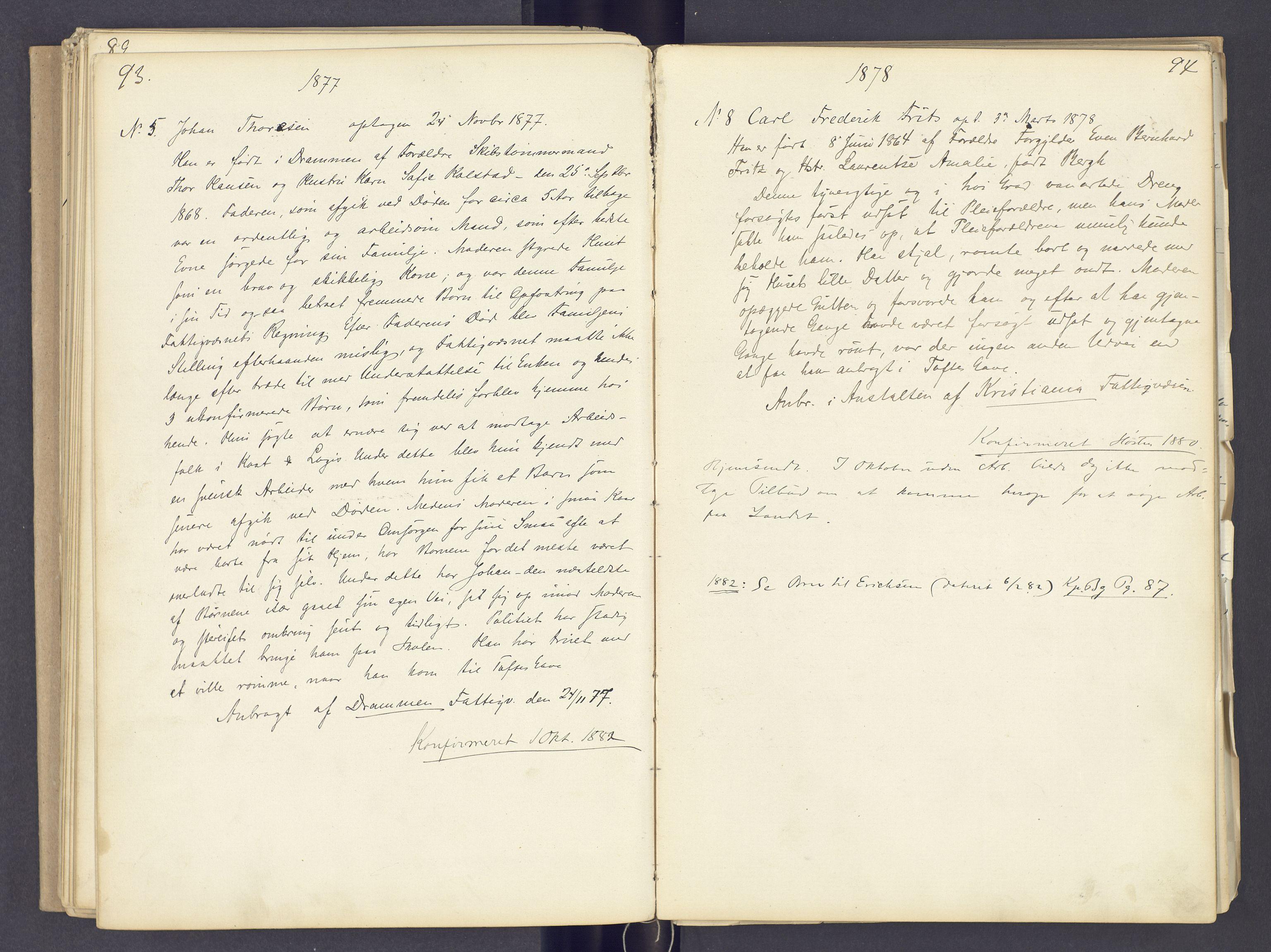SAH, Toftes Gave, F/Fc/L0002: Elevprotokoll, 1870-1885, s. 93-94