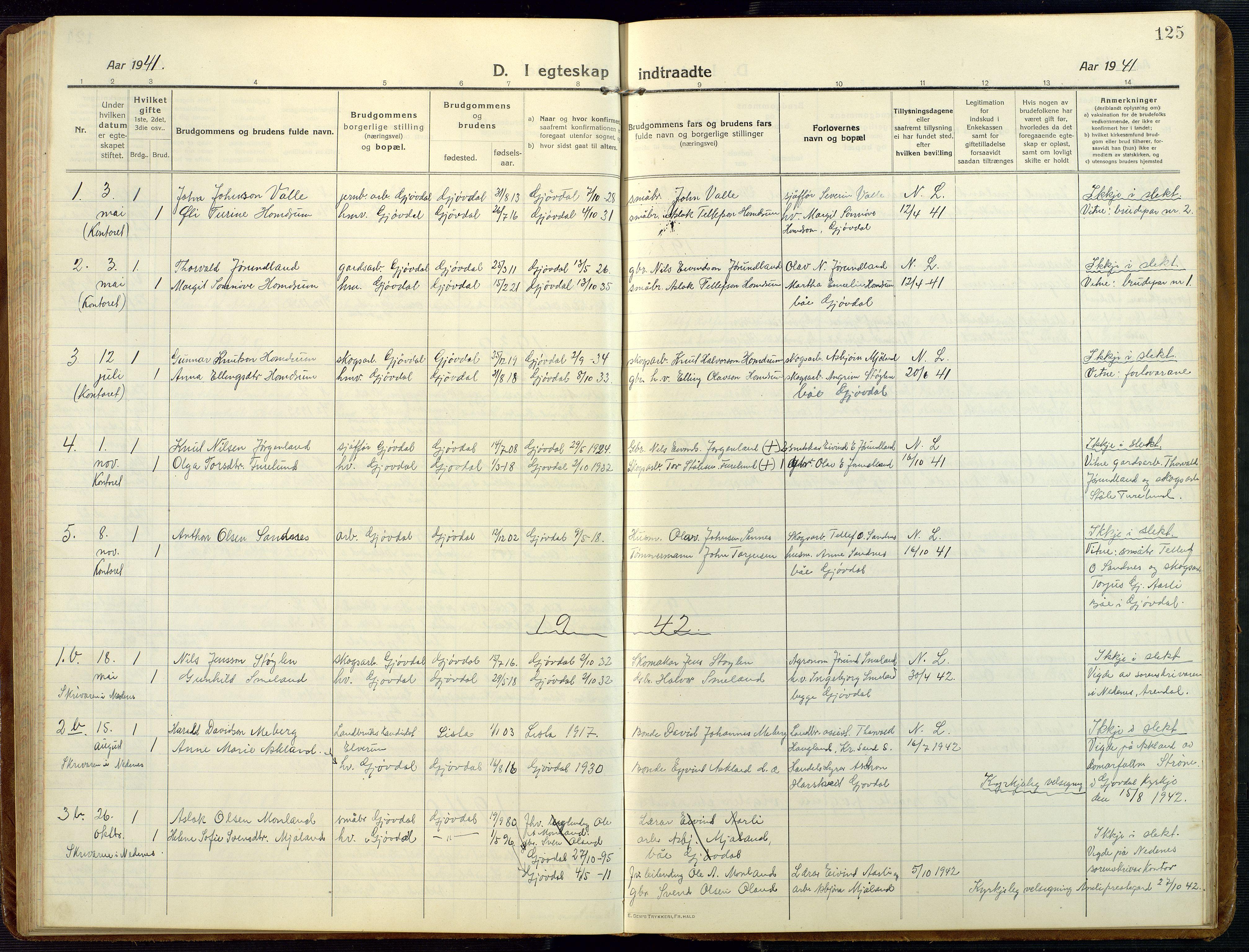 SAK, Åmli sokneprestkontor, F/Fb/Fba/L0003: Klokkerbok nr. B 3, 1912-1974, s. 125