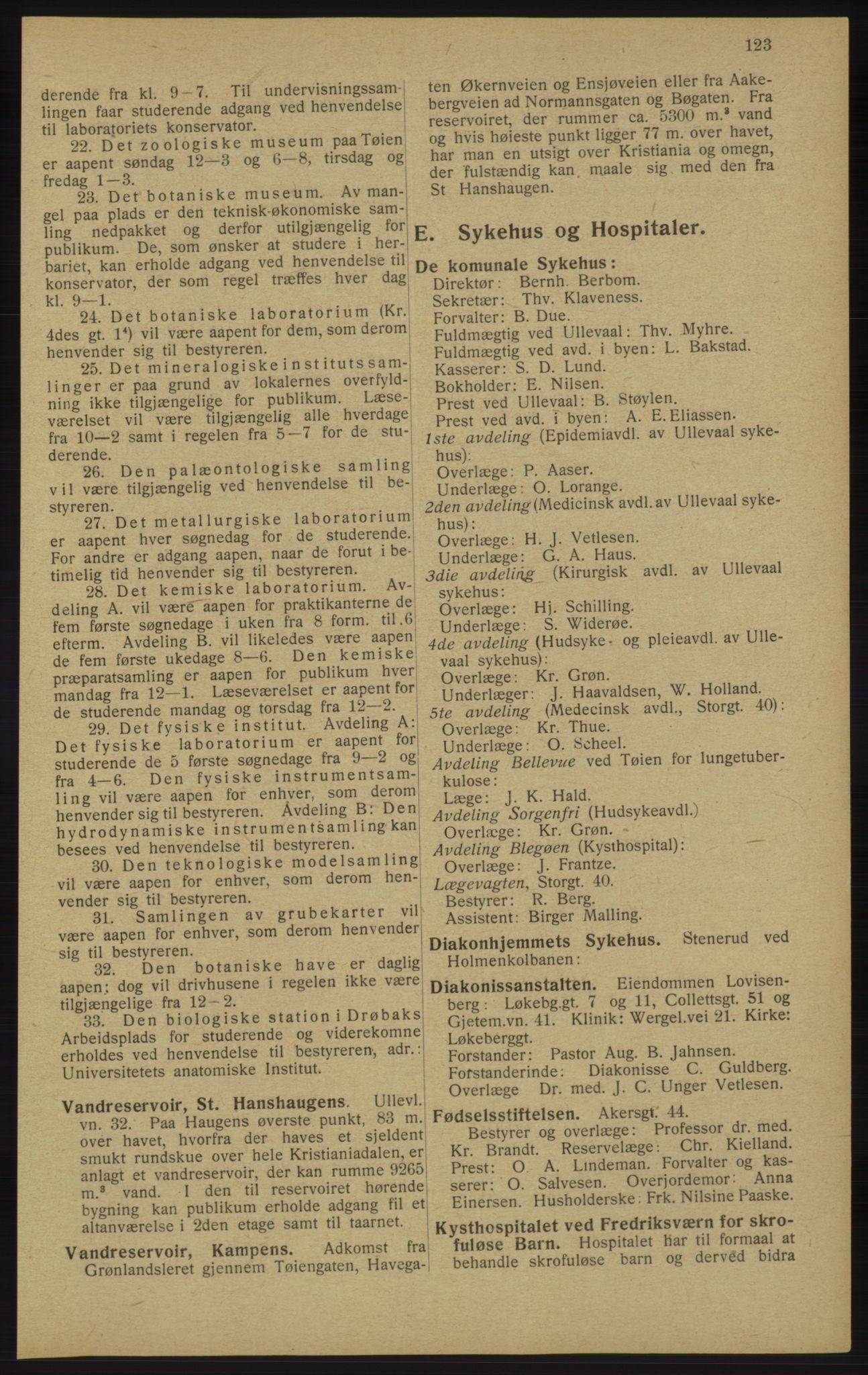 RA, Kristiania adressebok (publikasjon)*, 1913, s. 123