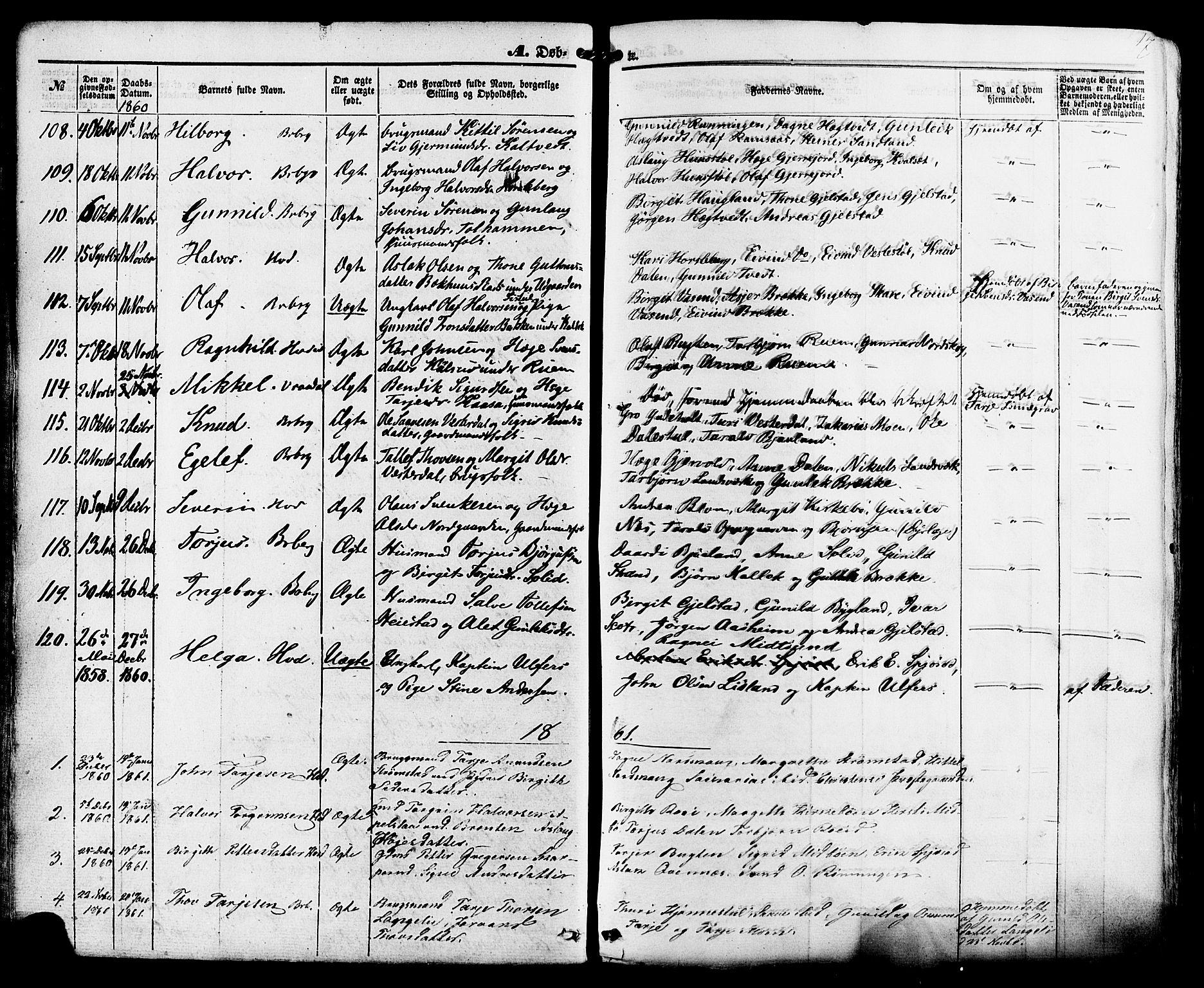 SAKO, Kviteseid kirkebøker, F/Fa/L0007: Ministerialbok nr. I 7, 1859-1881, s. 17