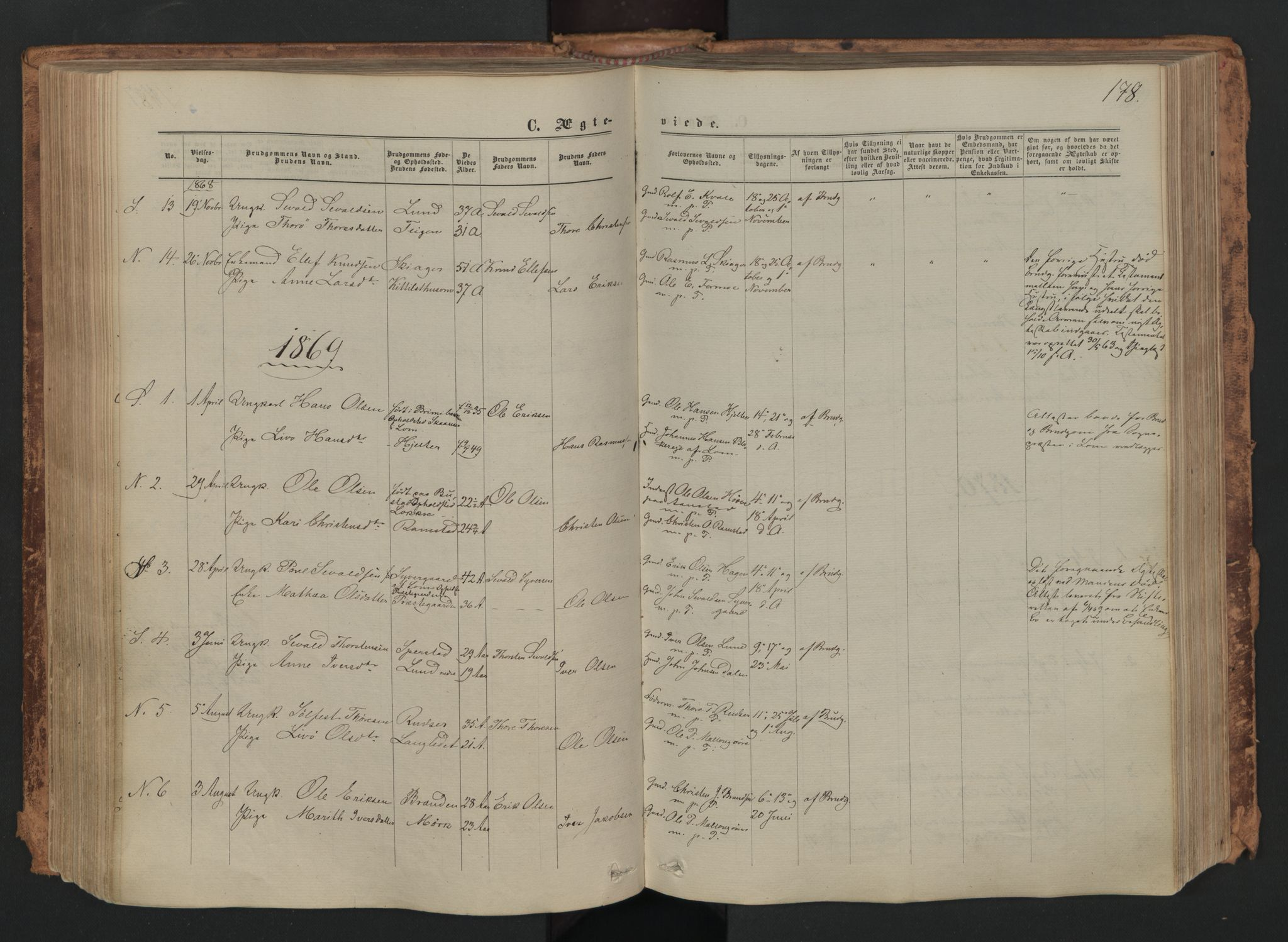 SAH, Skjåk prestekontor, Ministerialbok nr. 1, 1863-1879, s. 178