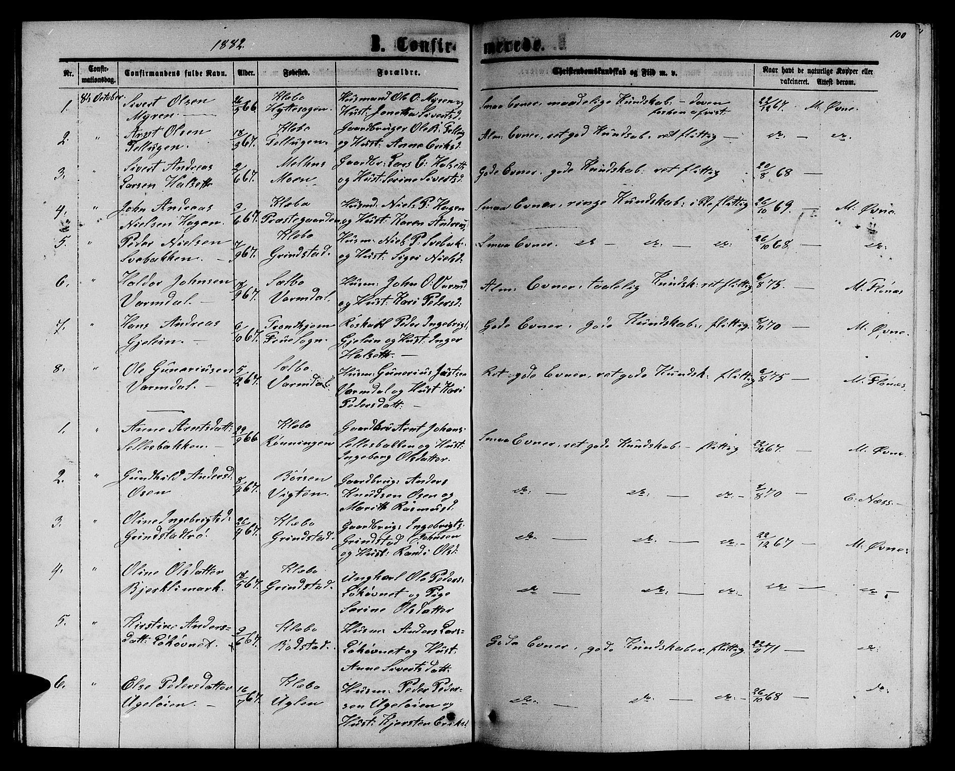 SAT, Ministerialprotokoller, klokkerbøker og fødselsregistre - Sør-Trøndelag, 618/L0451: Klokkerbok nr. 618C02, 1865-1883, s. 100