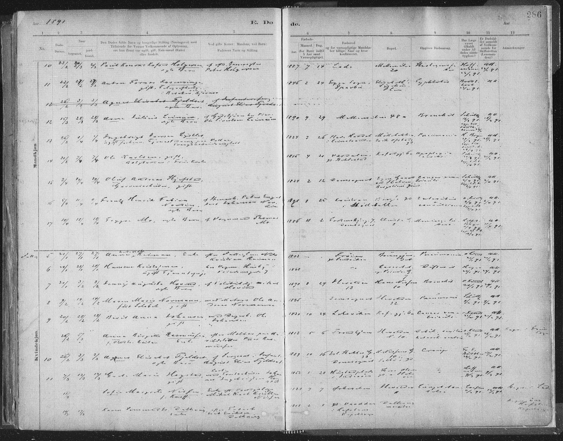 SAT, Ministerialprotokoller, klokkerbøker og fødselsregistre - Sør-Trøndelag, 603/L0162: Ministerialbok nr. 603A01, 1879-1895, s. 286