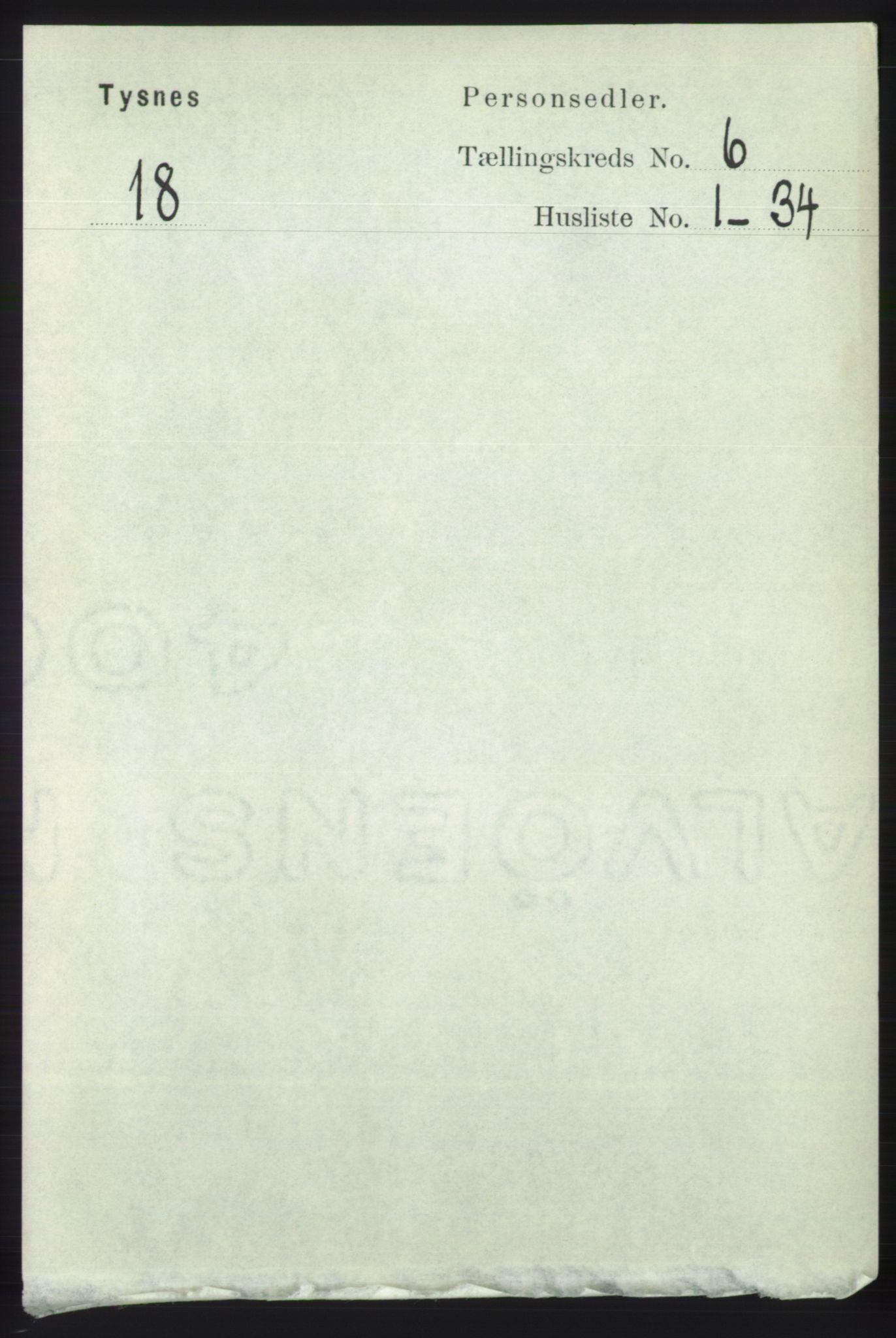 RA, Folketelling 1891 for 1223 Tysnes herred, 1891, s. 2369