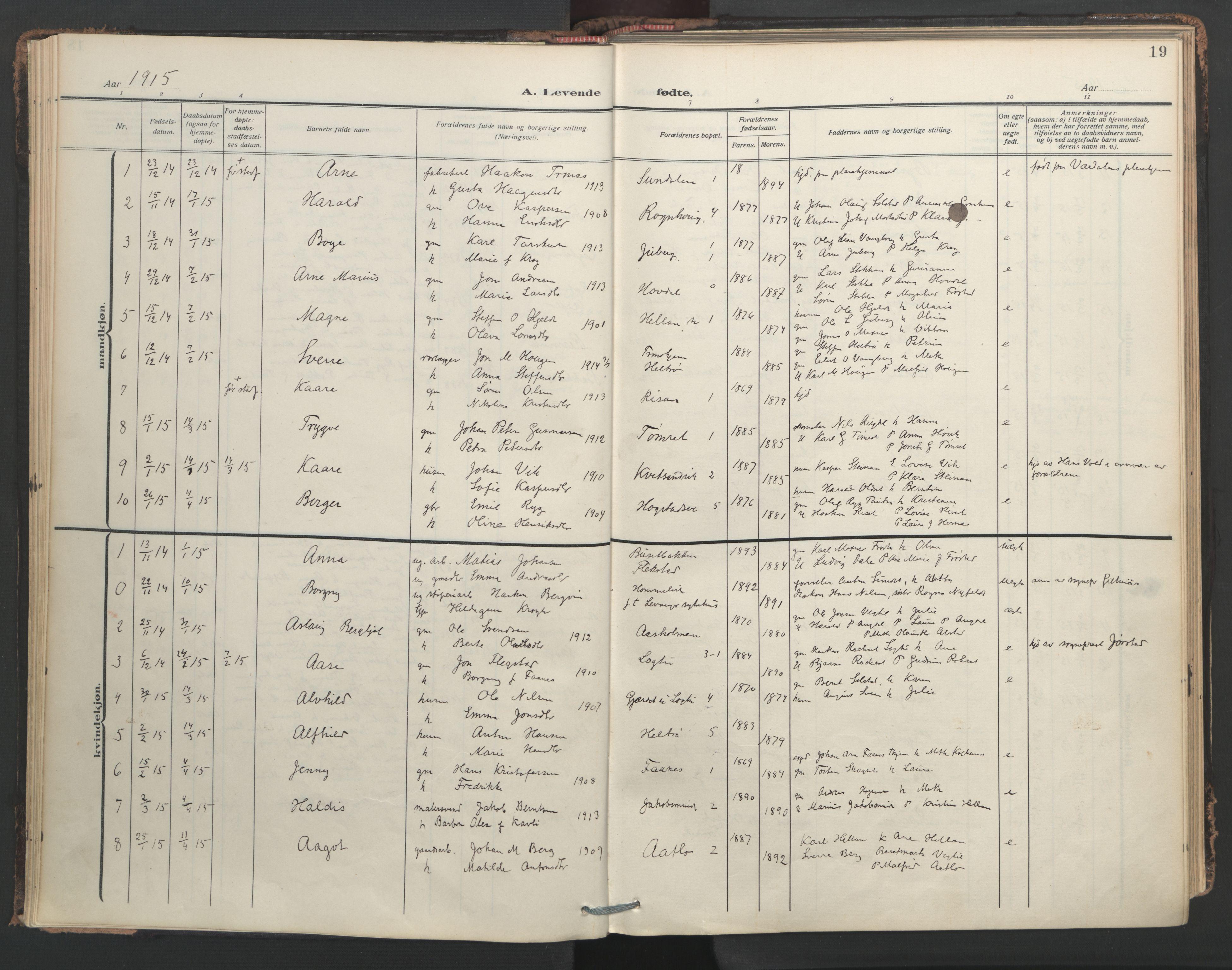 SAT, Ministerialprotokoller, klokkerbøker og fødselsregistre - Nord-Trøndelag, 713/L0123: Ministerialbok nr. 713A12, 1911-1925, s. 19