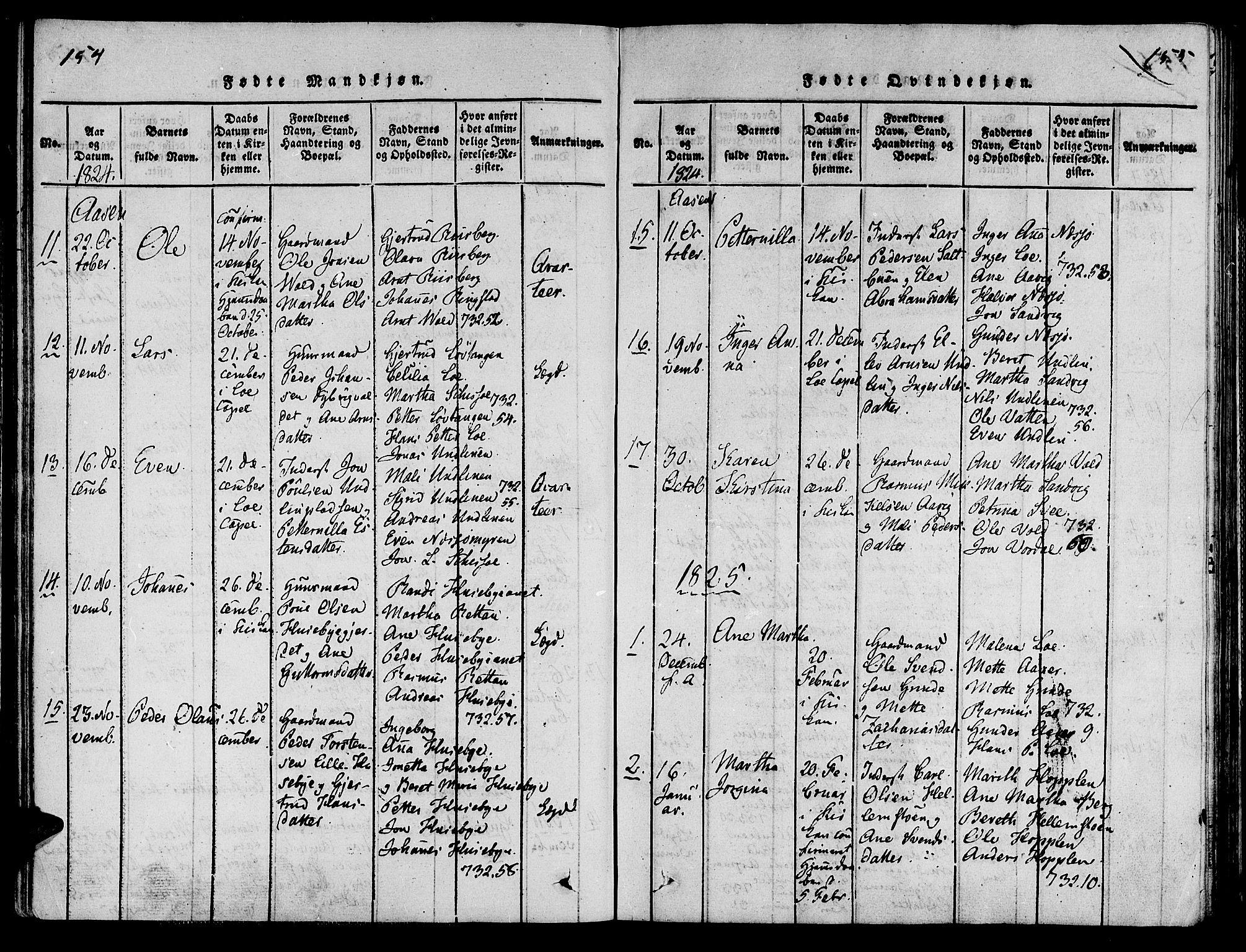 SAT, Ministerialprotokoller, klokkerbøker og fødselsregistre - Nord-Trøndelag, 713/L0112: Ministerialbok nr. 713A04 /2, 1817-1827, s. 154-155