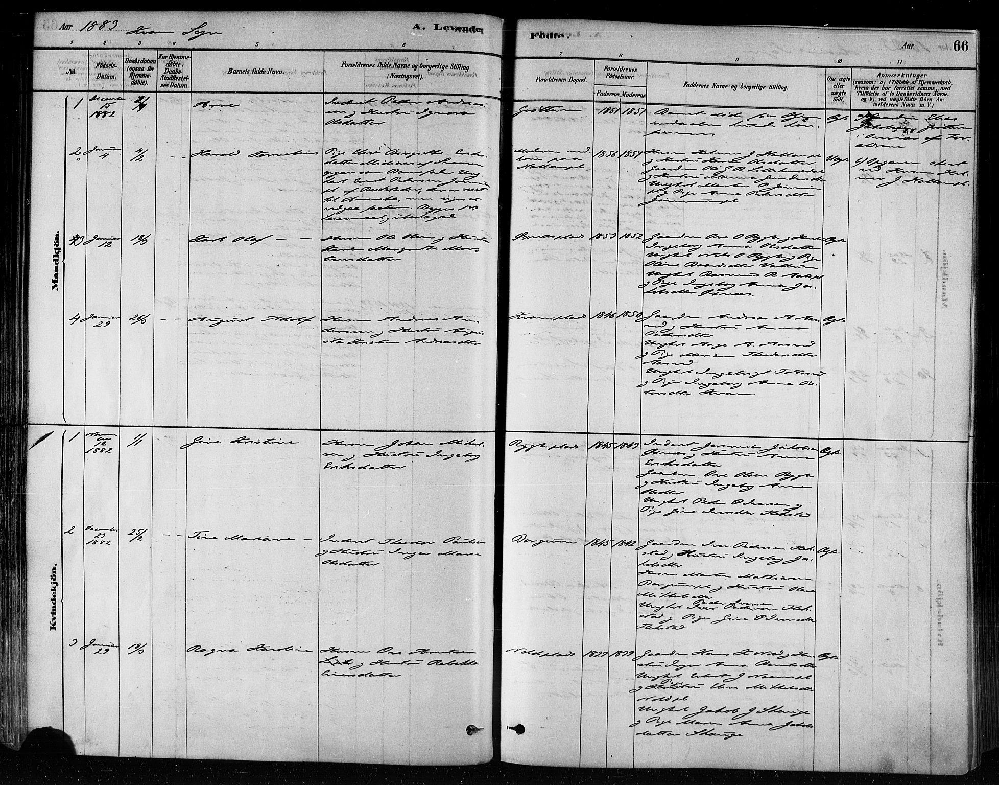 SAT, Ministerialprotokoller, klokkerbøker og fødselsregistre - Nord-Trøndelag, 746/L0449: Ministerialbok nr. 746A07 /2, 1878-1899, s. 66