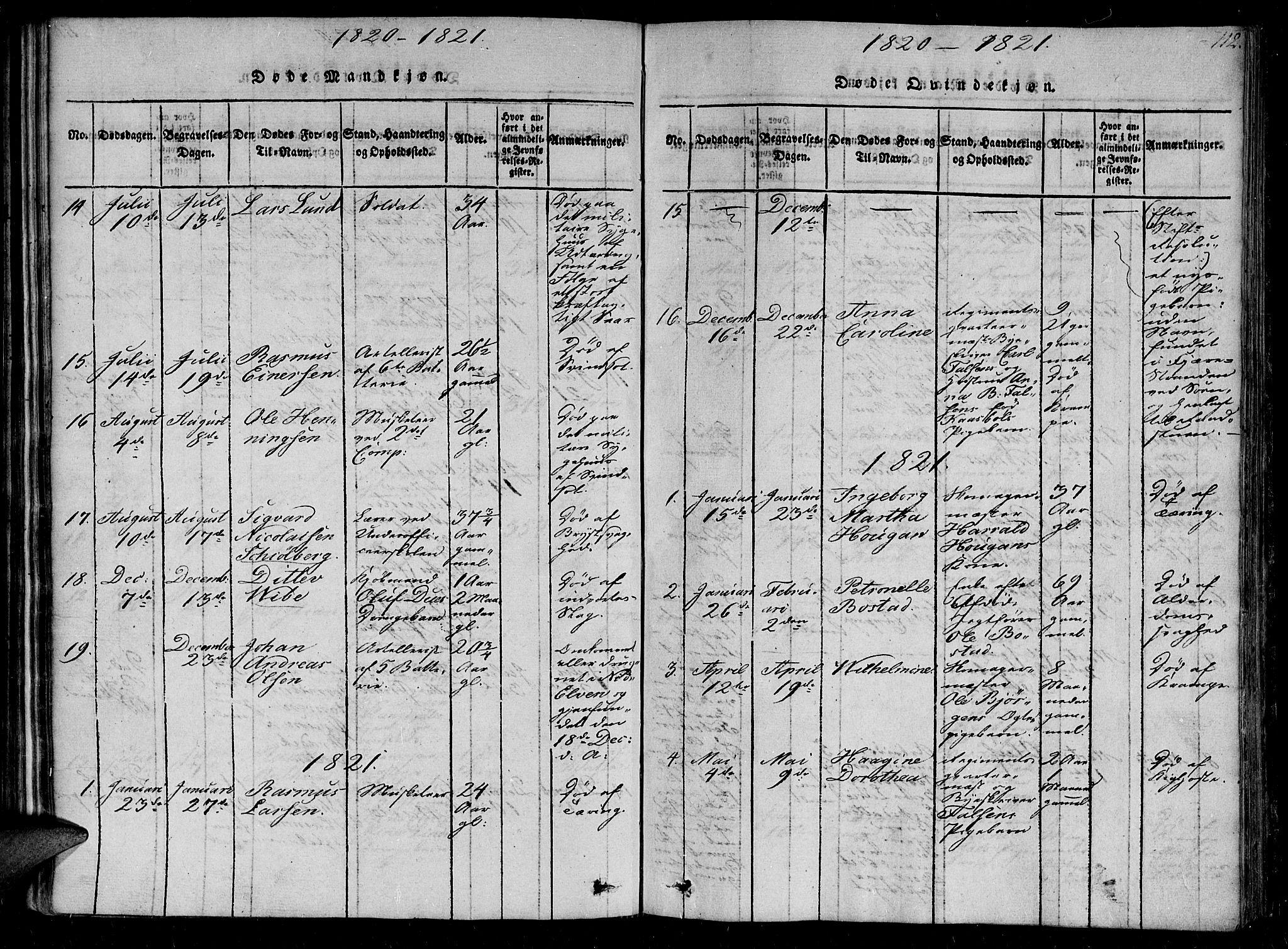 SAT, Ministerialprotokoller, klokkerbøker og fødselsregistre - Sør-Trøndelag, 602/L0107: Ministerialbok nr. 602A05, 1815-1821, s. 112