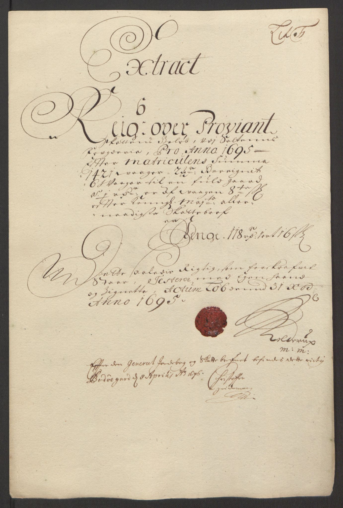 RA, Rentekammeret inntil 1814, Reviderte regnskaper, Fogderegnskap, R66/L4578: Fogderegnskap Salten, 1694-1696, s. 182