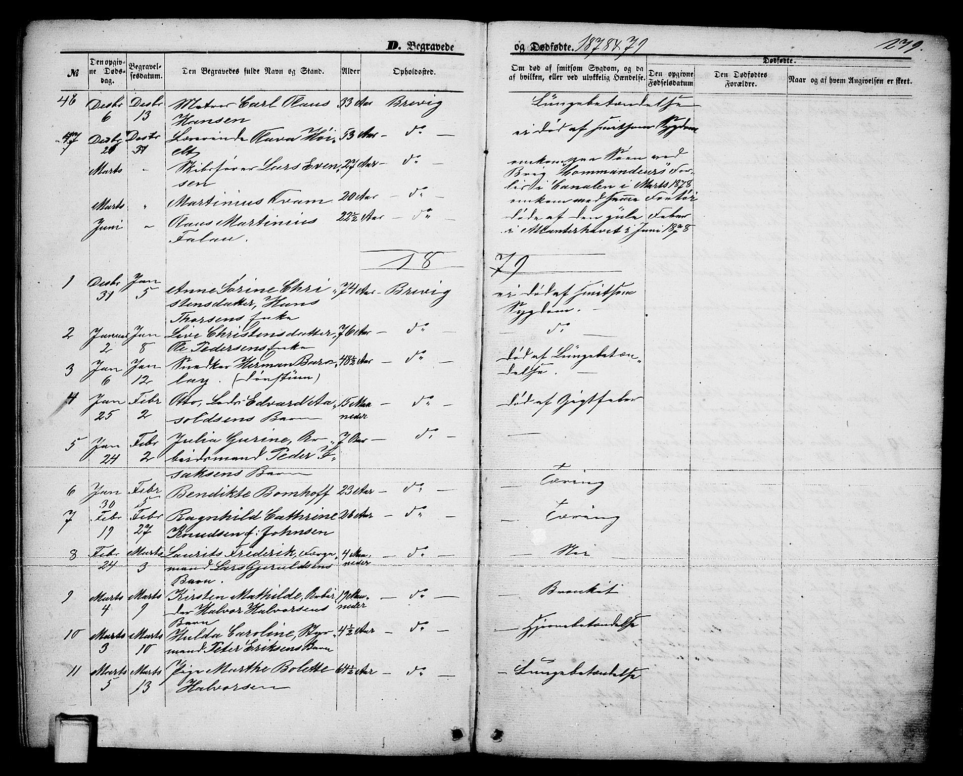SAKO, Brevik kirkebøker, G/Ga/L0003: Klokkerbok nr. 3, 1866-1881, s. 279