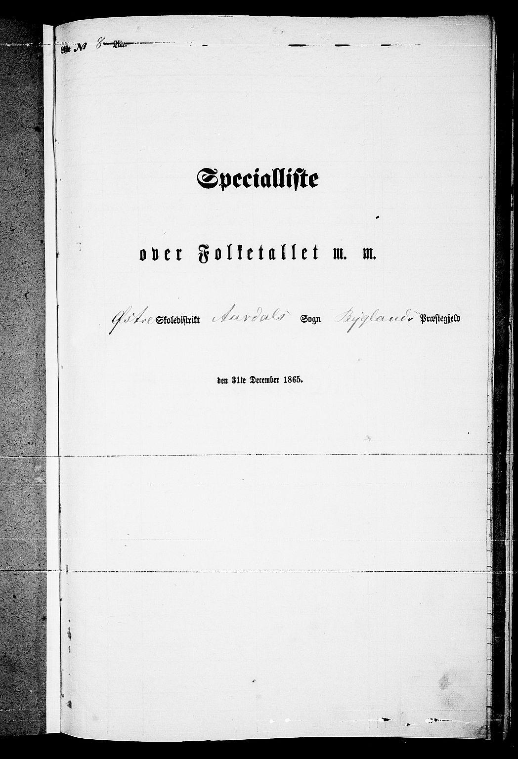RA, Folketelling 1865 for 0938P Bygland prestegjeld, 1865, s. 79