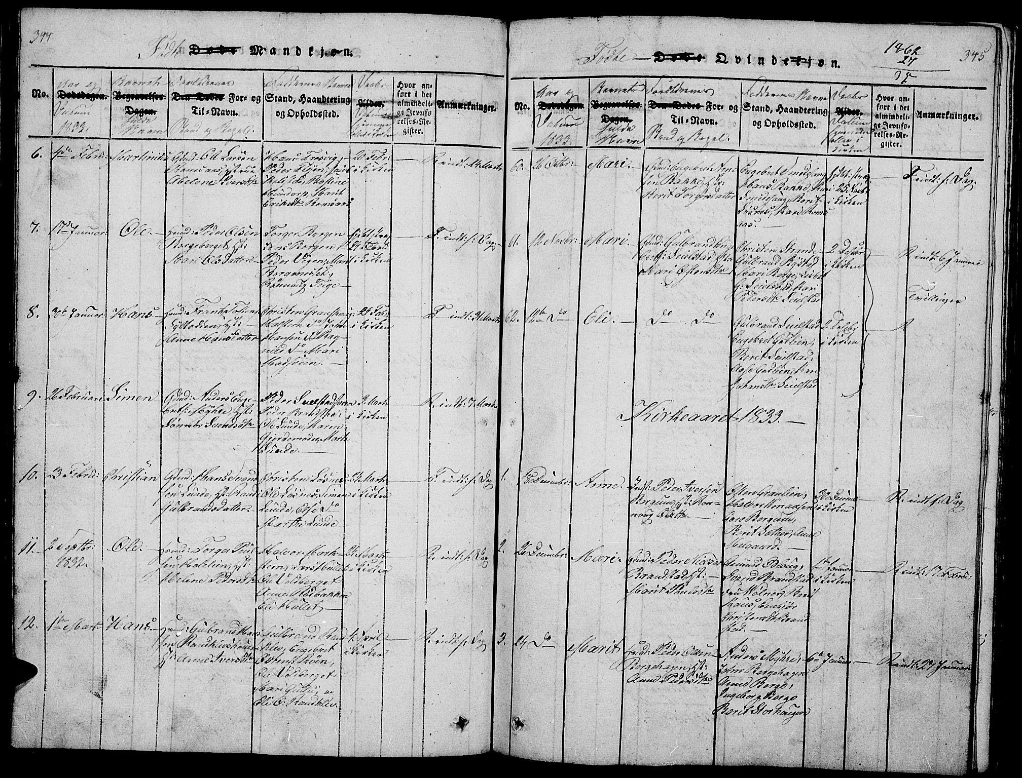 SAH, Ringebu prestekontor, Klokkerbok nr. 1, 1821-1839, s. 344-345