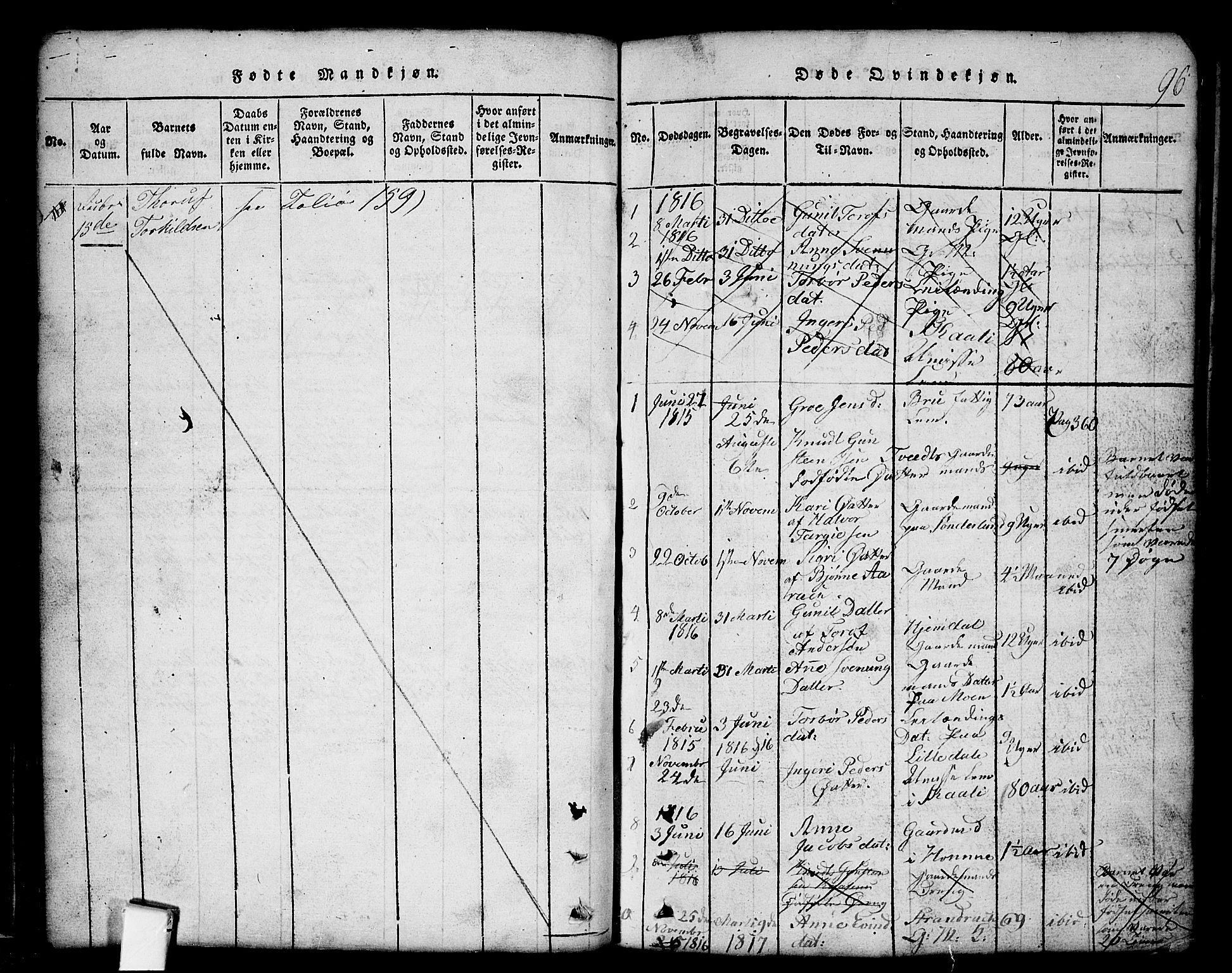 SAKO, Nissedal kirkebøker, G/Gb/L0001: Klokkerbok nr. II 1, 1814-1862, s. 96