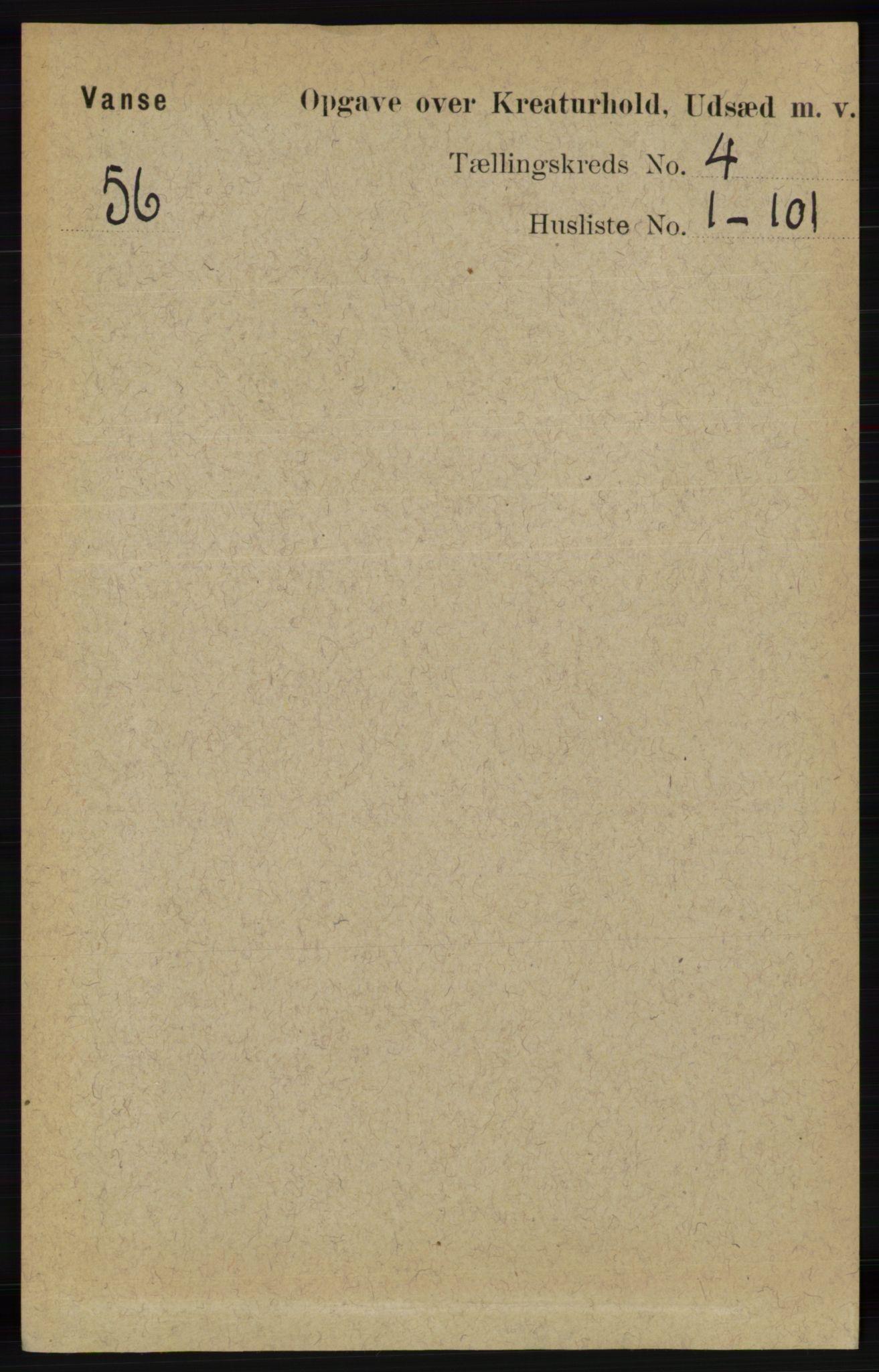 RA, Folketelling 1891 for 1041 Vanse herred, 1891, s. 8527