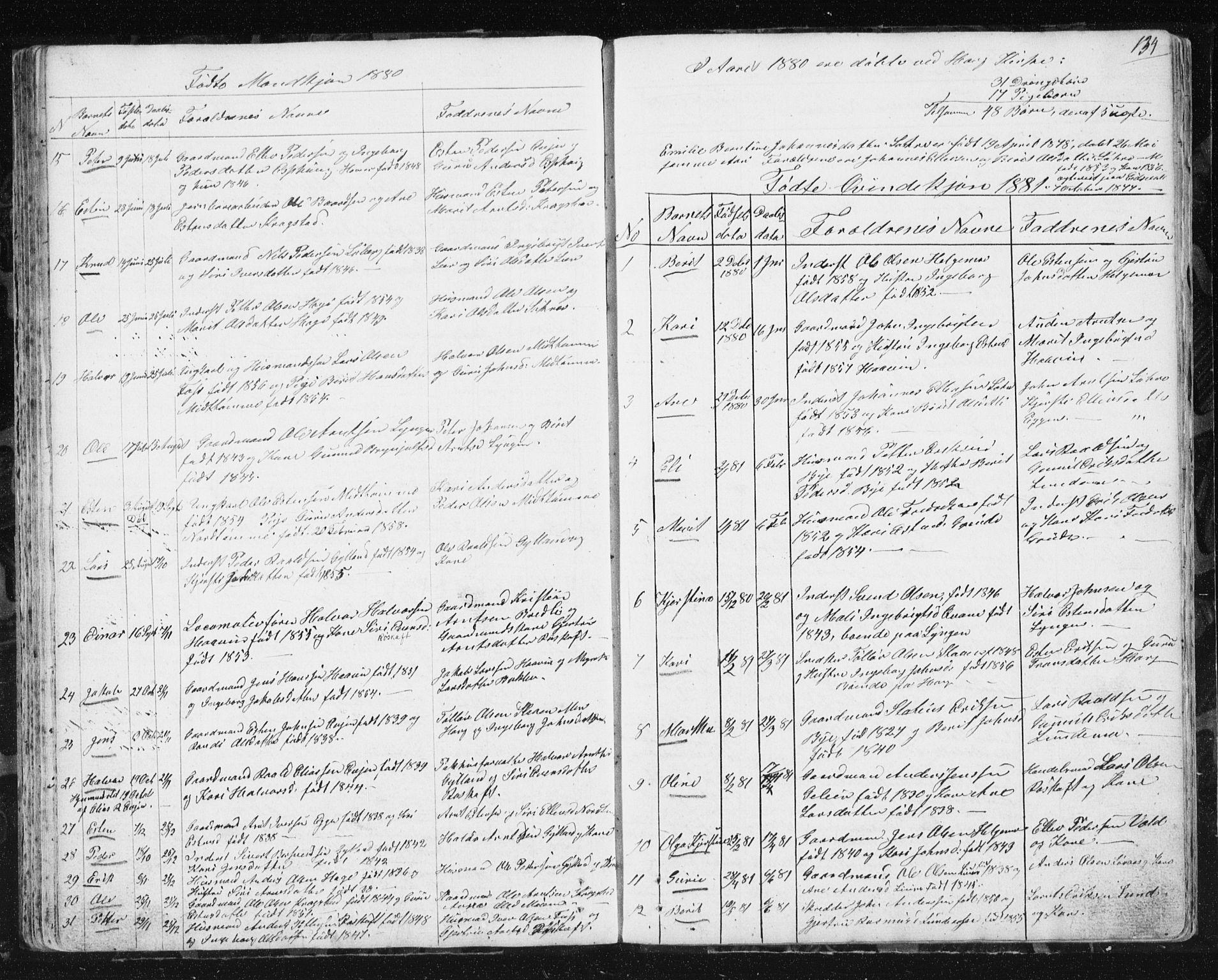 SAT, Ministerialprotokoller, klokkerbøker og fødselsregistre - Sør-Trøndelag, 692/L1110: Klokkerbok nr. 692C05, 1849-1889, s. 134