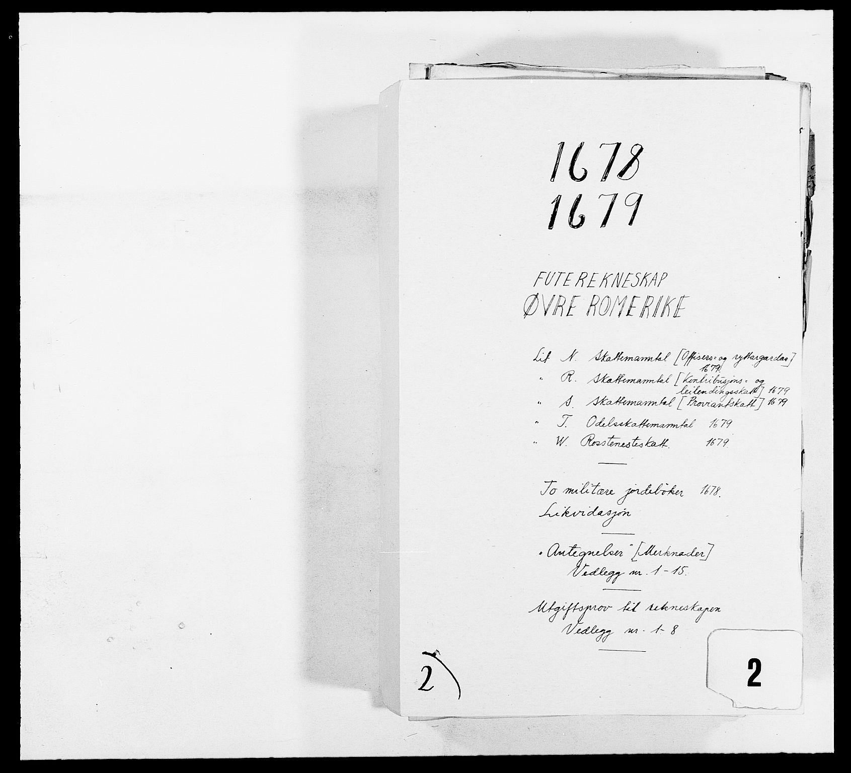 RA, Rentekammeret inntil 1814, Reviderte regnskaper, Fogderegnskap, R12/L0694: Fogderegnskap Øvre Romerike, 1678-1679, s. 1