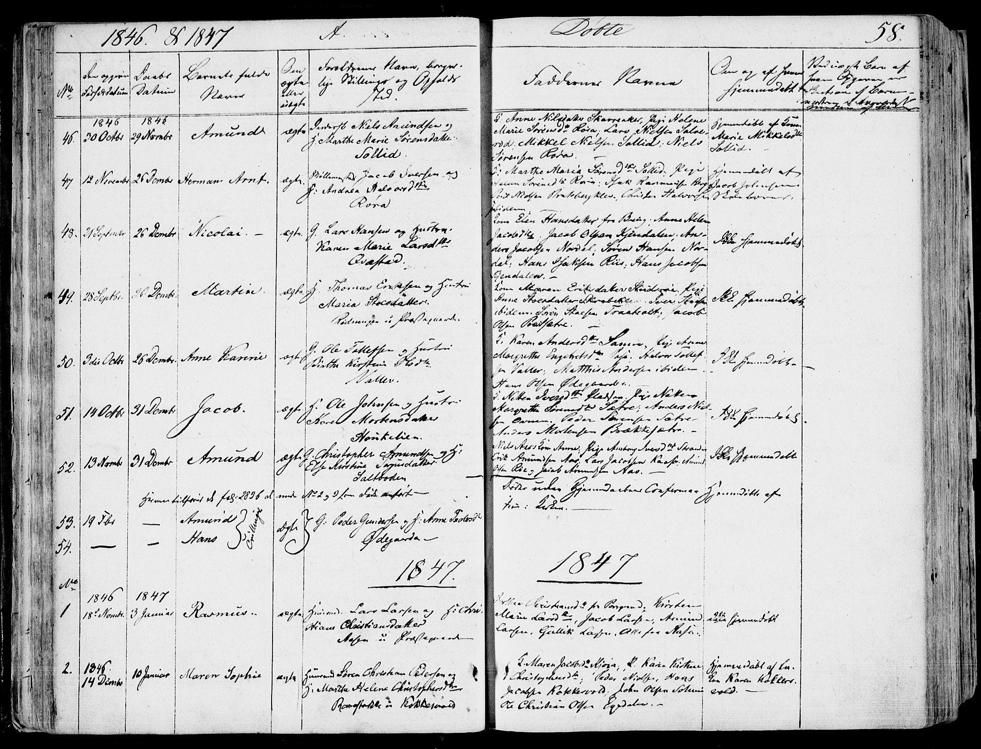 SAKO, Eidanger kirkebøker, F/Fa/L0008: Ministerialbok nr. 8, 1831-1858, s. 58