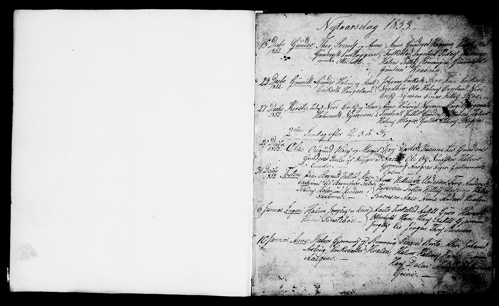 SAKO, Bø kirkebøker, G/Ga/L0002: Klokkerbok nr. 2, 1853-1866, s. 1