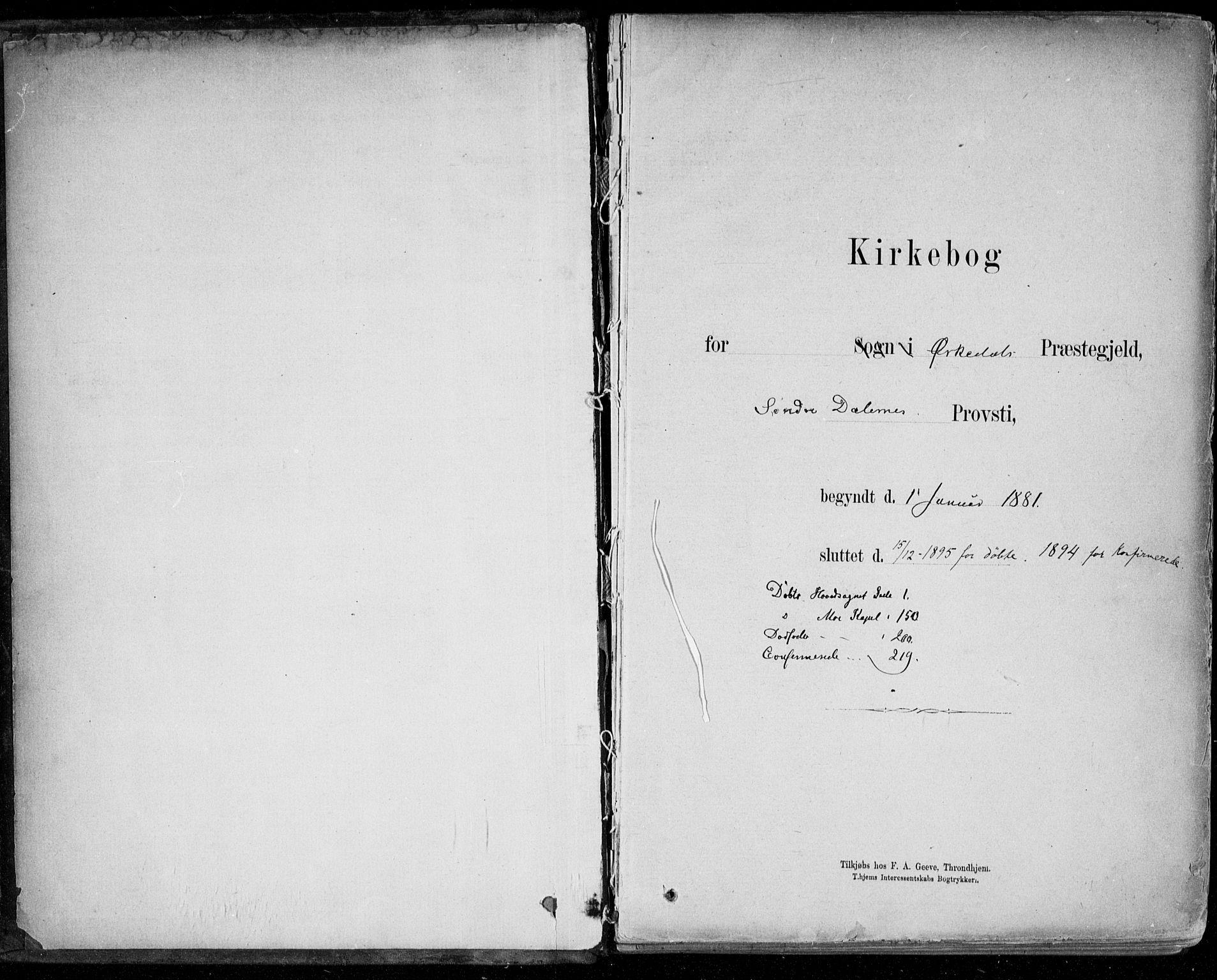 SAT, Ministerialprotokoller, klokkerbøker og fødselsregistre - Sør-Trøndelag, 668/L0809: Ministerialbok nr. 668A09, 1881-1895