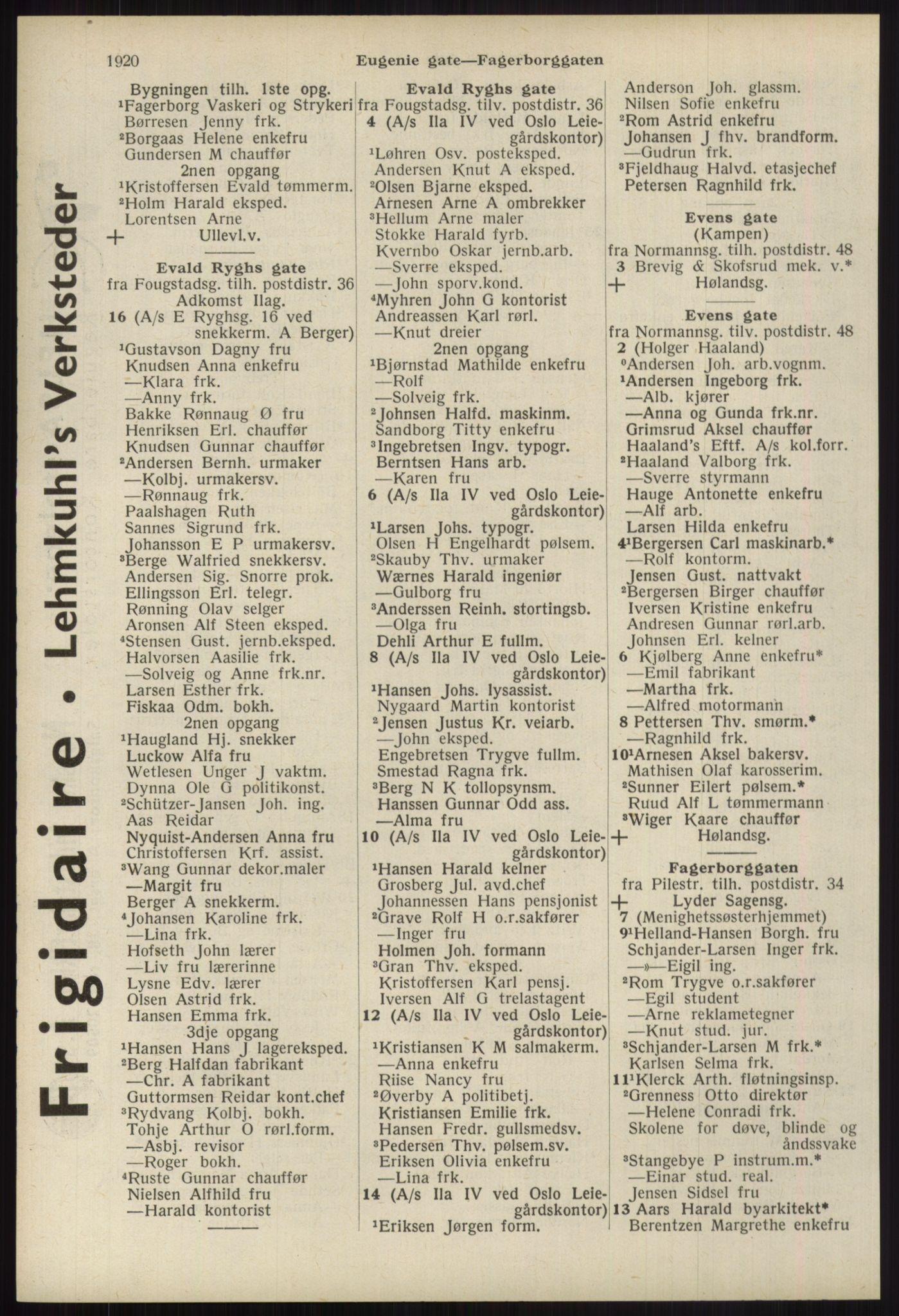 RA, Oslo adressebok (publikasjon)*, 1939, s. 1920