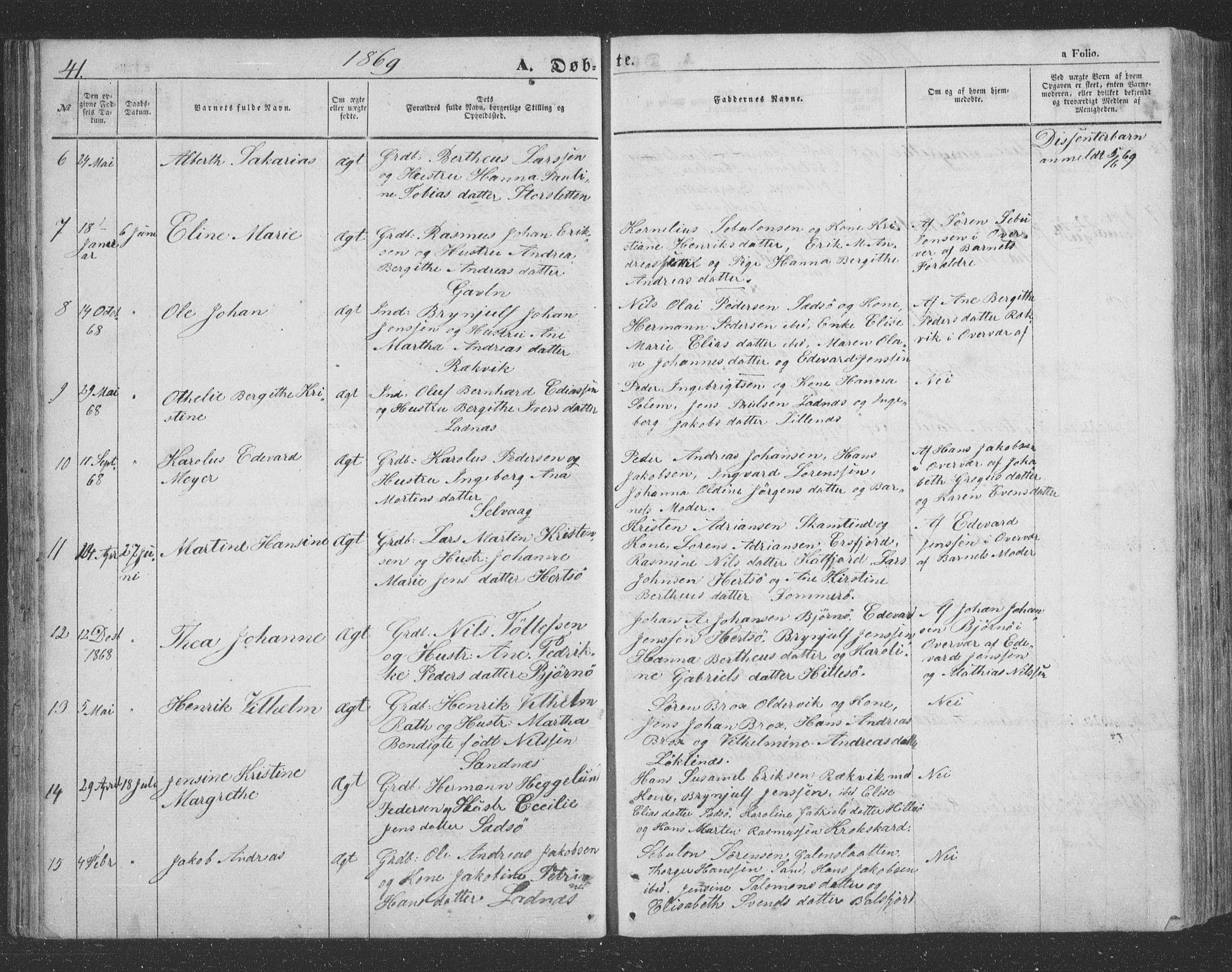 SATØ, Lenvik sokneprestembete, H/Ha/Hab/L0020klokker: Klokkerbok nr. 20, 1855-1883, s. 41
