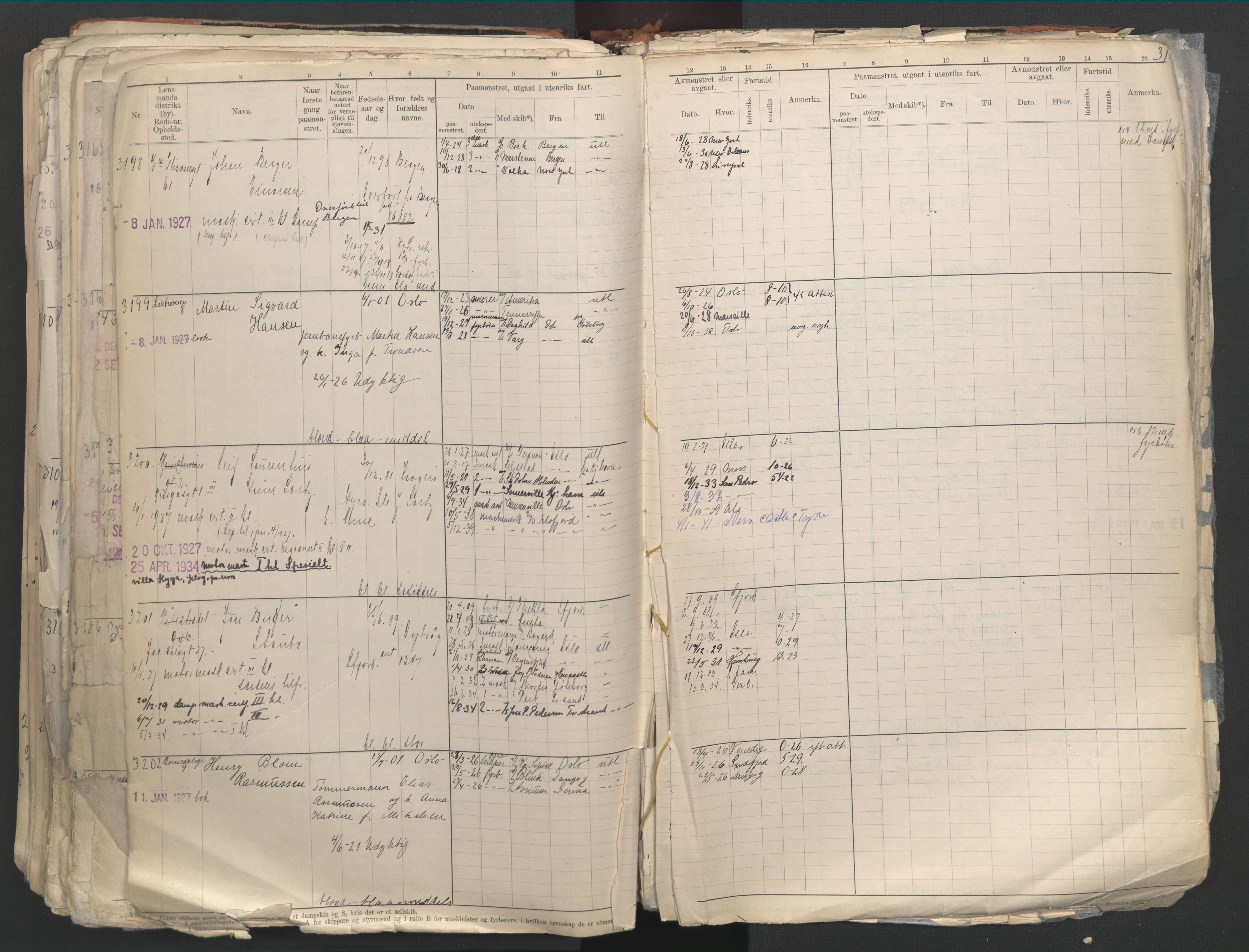 SAO, Oslo sjømannskontor, F/Fd/L0003: B-rulle, 1916, s. 311b-312a