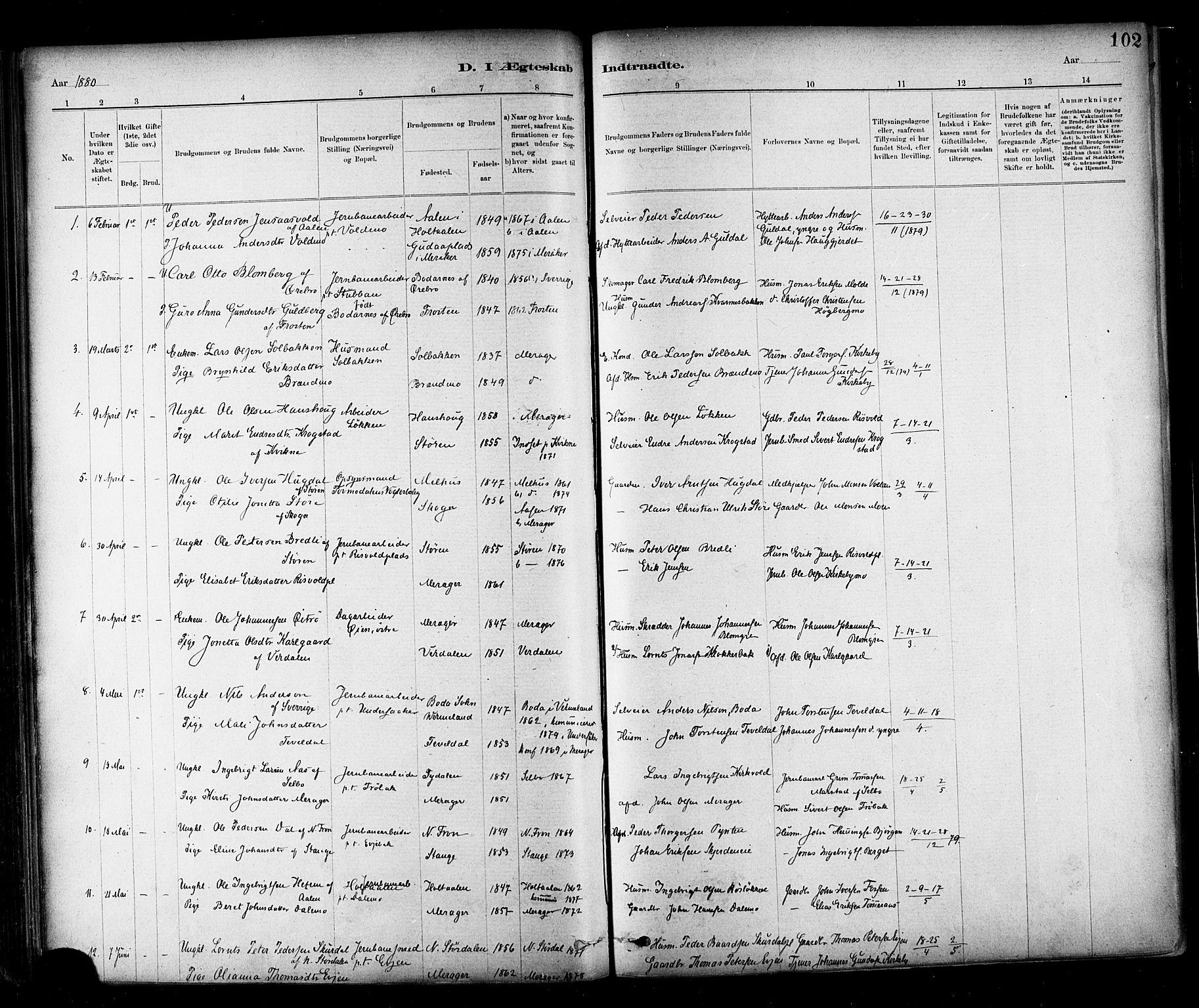 SAT, Ministerialprotokoller, klokkerbøker og fødselsregistre - Nord-Trøndelag, 706/L0047: Ministerialbok nr. 706A03, 1878-1892, s. 102