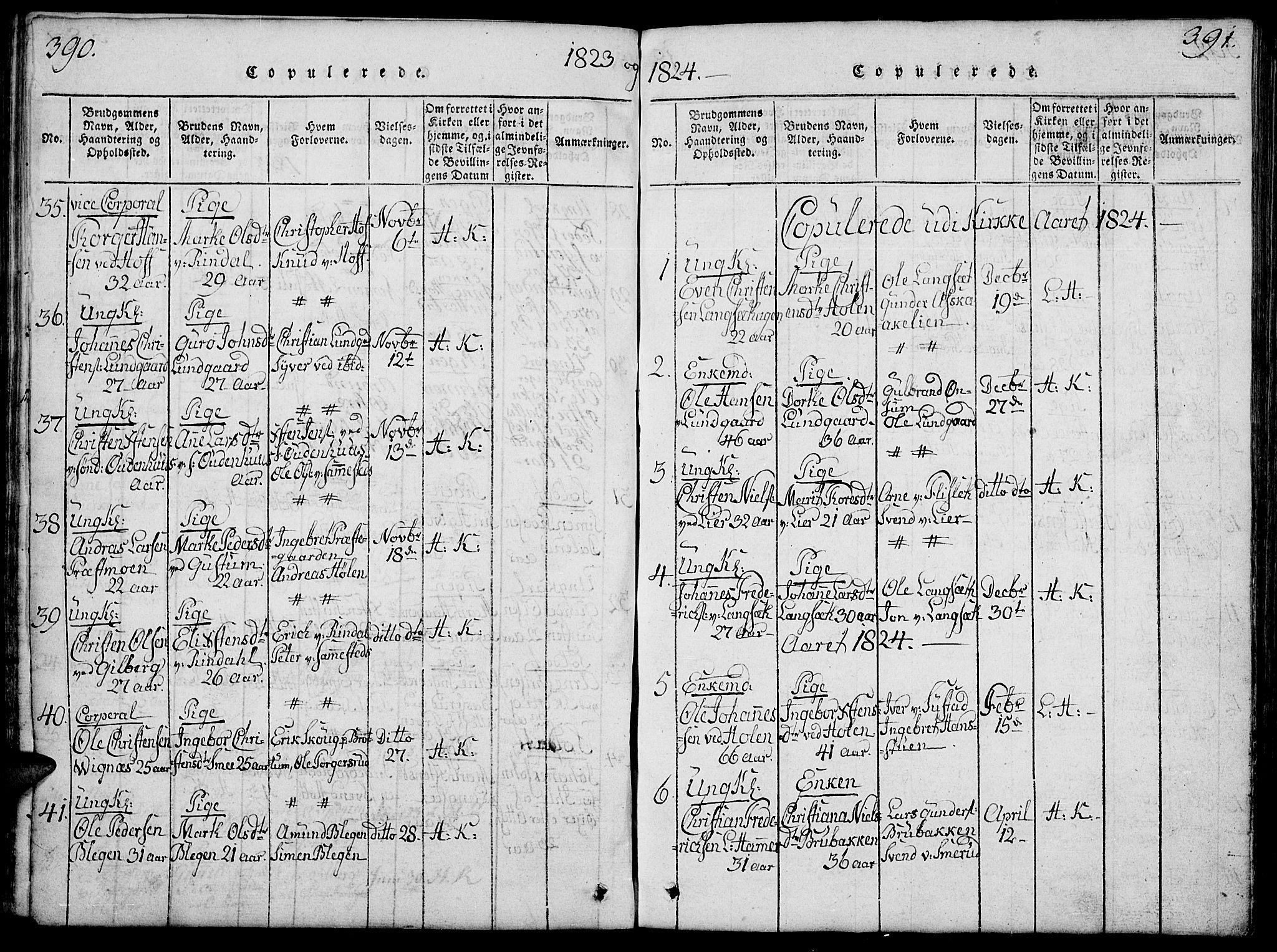SAH, Fåberg prestekontor, Klokkerbok nr. 4, 1818-1837, s. 390-391