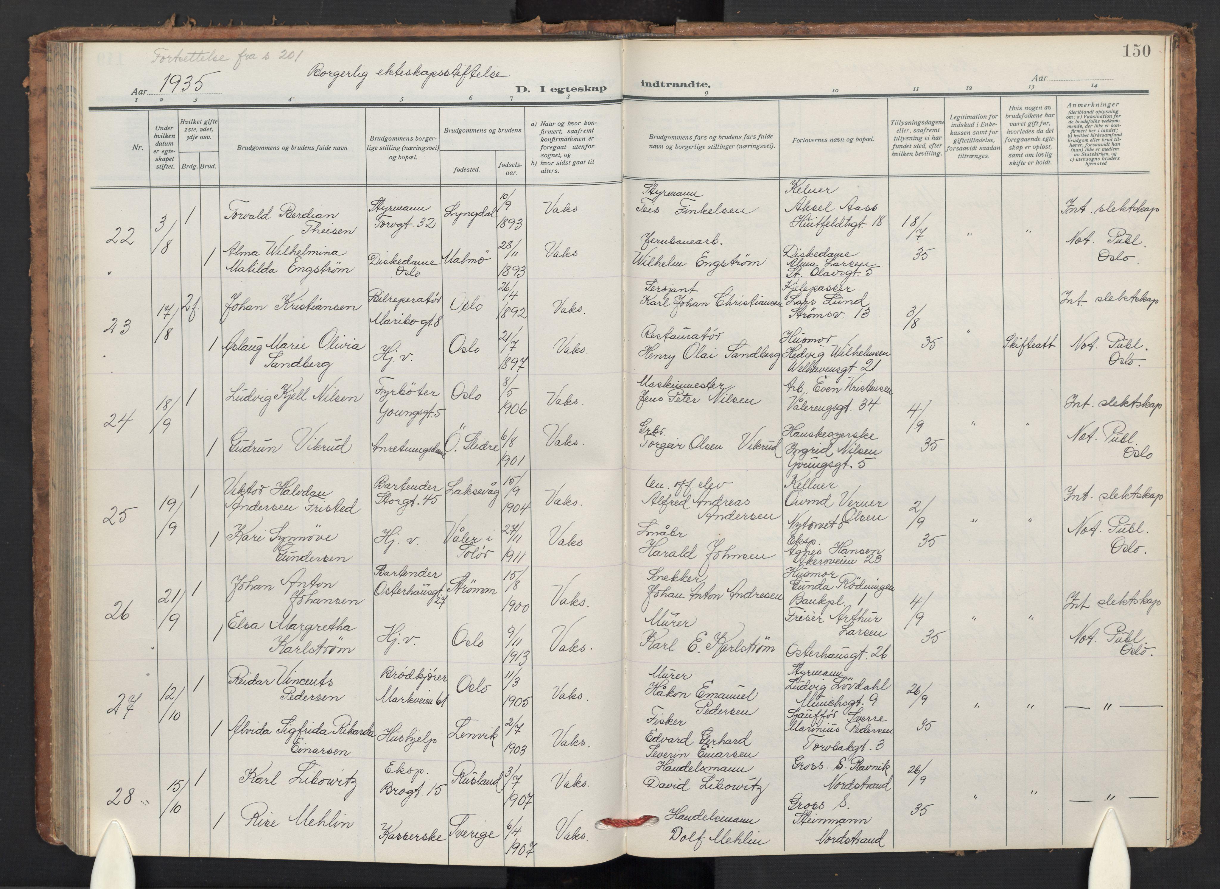 SAO, Jakob prestekontor Kirkebøker, F/Fa/L0018: Ministerialbok nr. 18, 1923-1936, s. 150