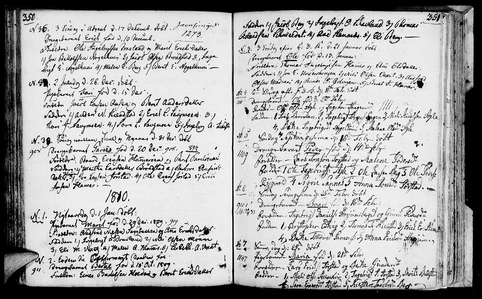 SAT, Ministerialprotokoller, klokkerbøker og fødselsregistre - Nord-Trøndelag, 749/L0468: Ministerialbok nr. 749A02, 1787-1817, s. 350-351
