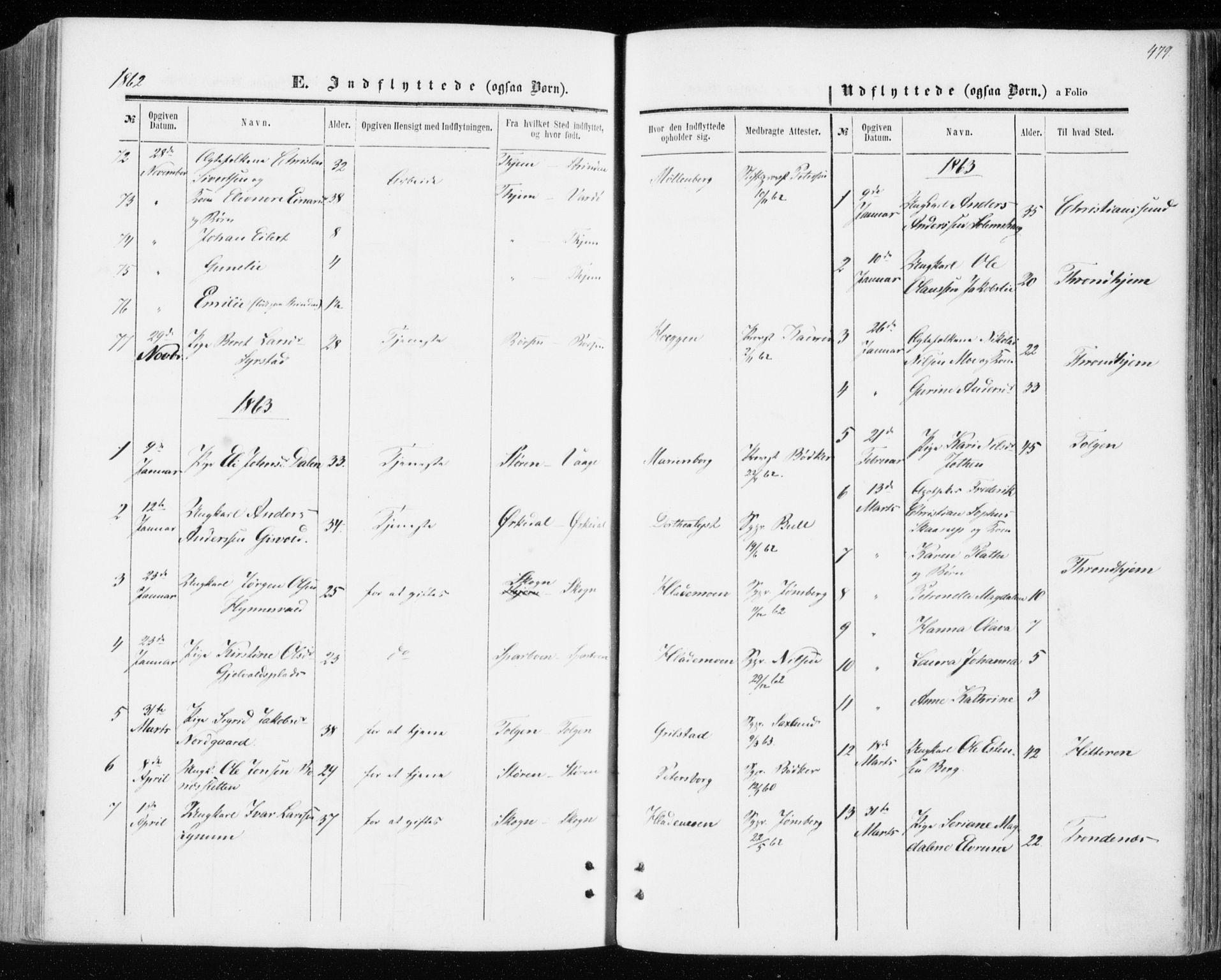 SAT, Ministerialprotokoller, klokkerbøker og fødselsregistre - Sør-Trøndelag, 606/L0292: Ministerialbok nr. 606A07, 1856-1865, s. 479