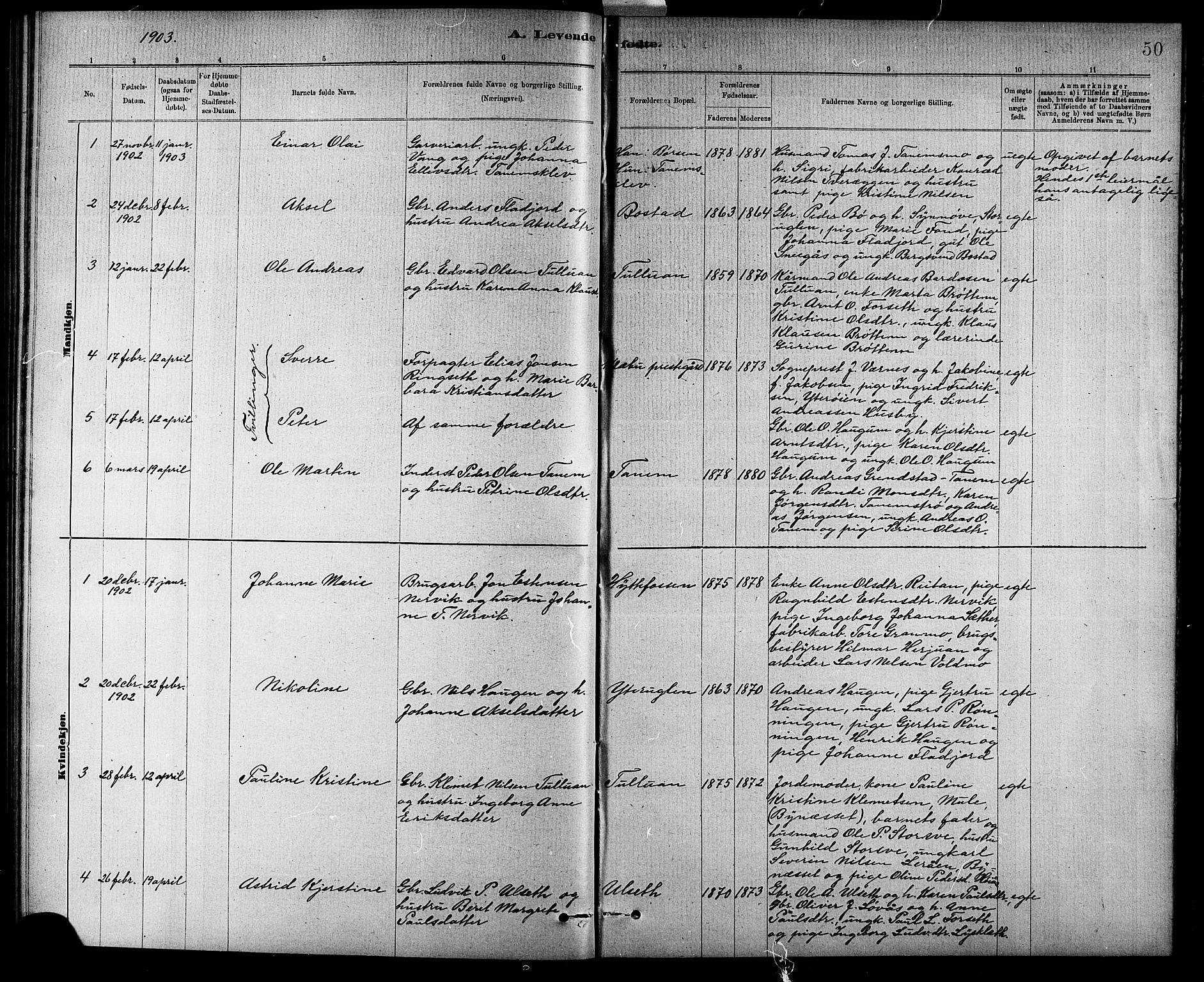 SAT, Ministerialprotokoller, klokkerbøker og fødselsregistre - Sør-Trøndelag, 618/L0452: Klokkerbok nr. 618C03, 1884-1906, s. 50