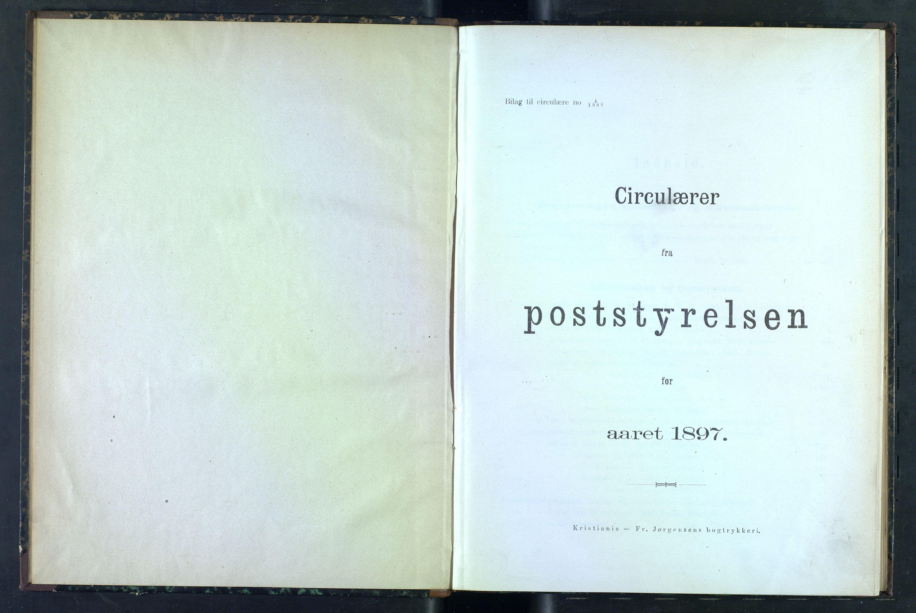 NOPO, Norges Postmuseums bibliotek, -/-: Sirkulærer fra Poststyrelsen, 1897