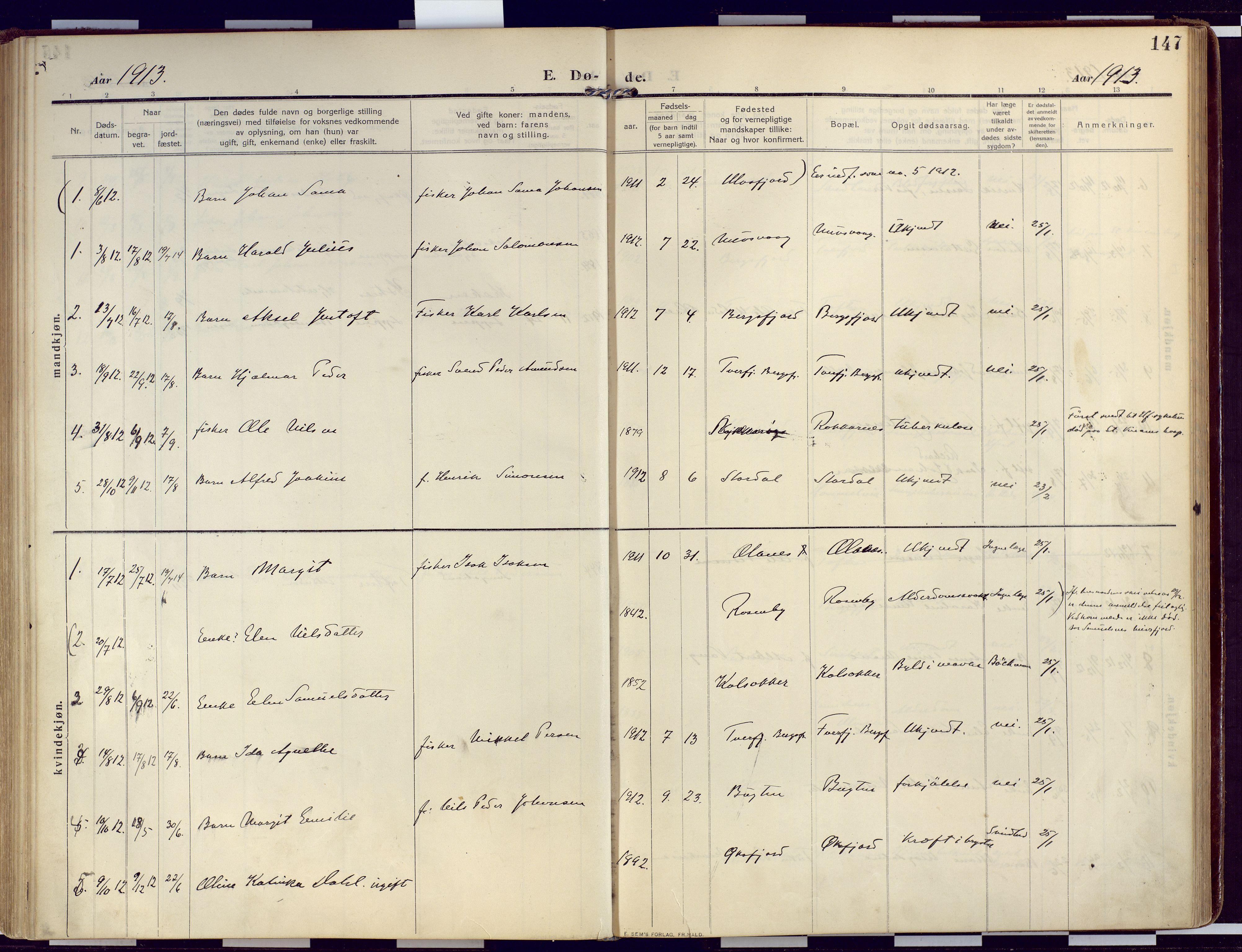 SATØ, Loppa sokneprestkontor, H/Ha/L0011kirke: Ministerialbok nr. 11, 1909-1919, s. 147