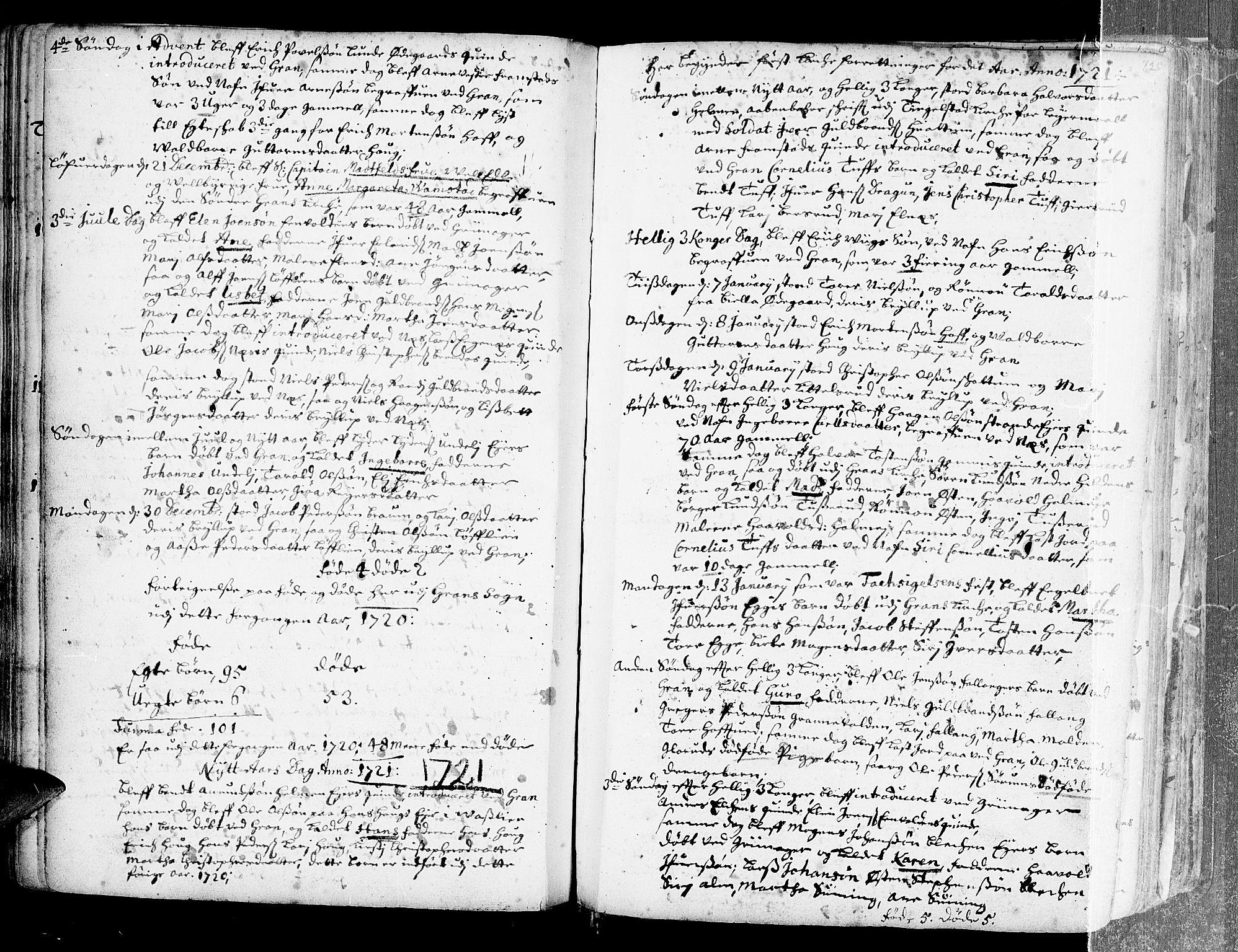 SAH, Gran prestekontor, Ministerialbok nr. 1, 1707-1731, s. 125