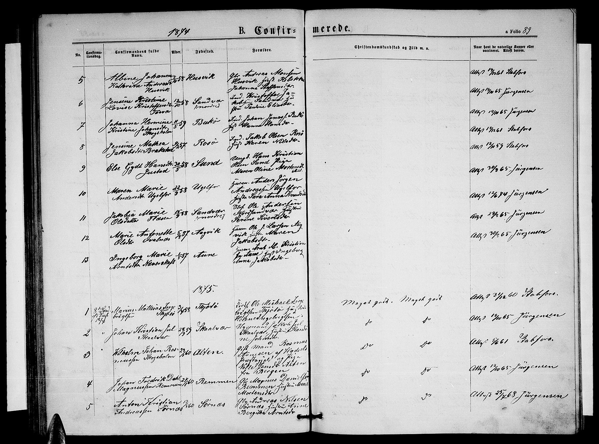 SAT, Ministerialprotokoller, klokkerbøker og fødselsregistre - Nordland, 817/L0267: Klokkerbok nr. 817C02, 1870-1883, s. 89