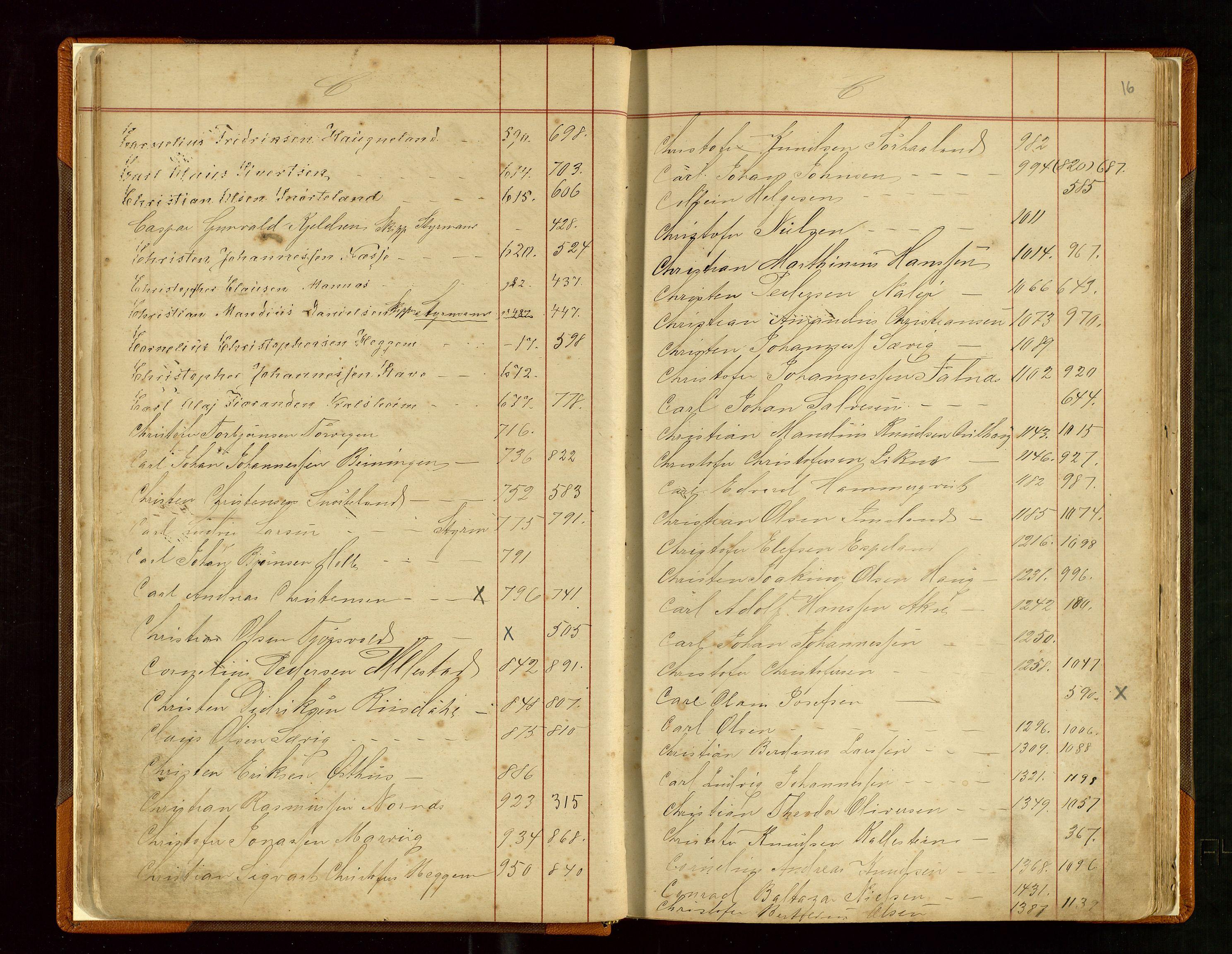 SAST, Haugesund sjømannskontor, F/Fb/Fba/L0003: Navneregister med henvisning til rullenummer (fornavn) Haugesund krets, 1860-1948, s. 16