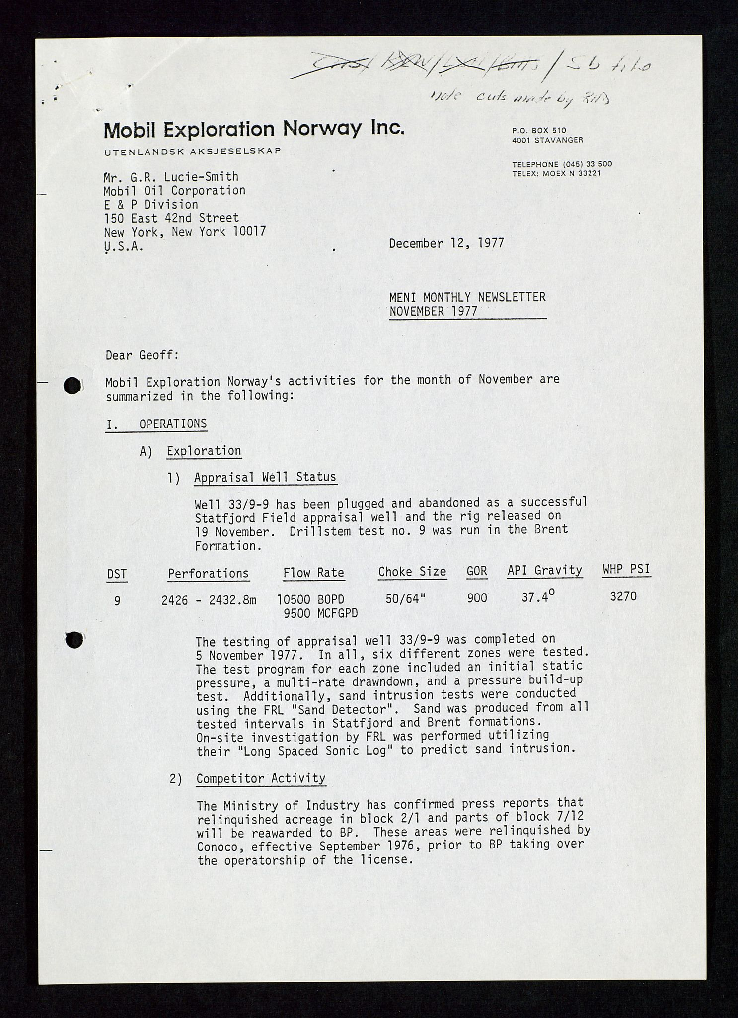 SAST, Pa 1578 - Mobil Exploration Norway Incorporated, D/Da/L0116: S.E. Smith - Sak og korrespondanse, 1973-1976, s. 23