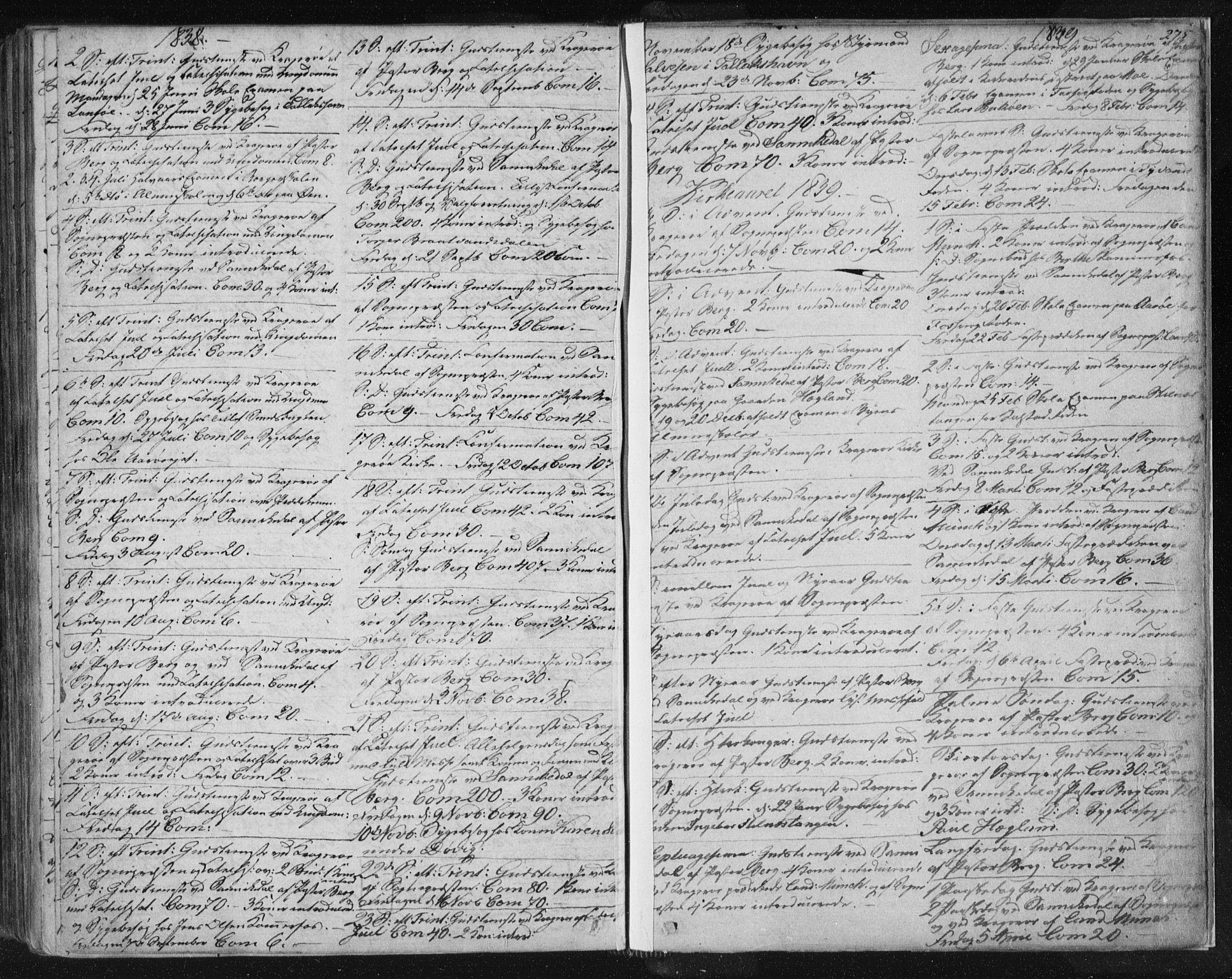 SAKO, Kragerø kirkebøker, F/Fa/L0005: Ministerialbok nr. 5, 1832-1847, s. 275