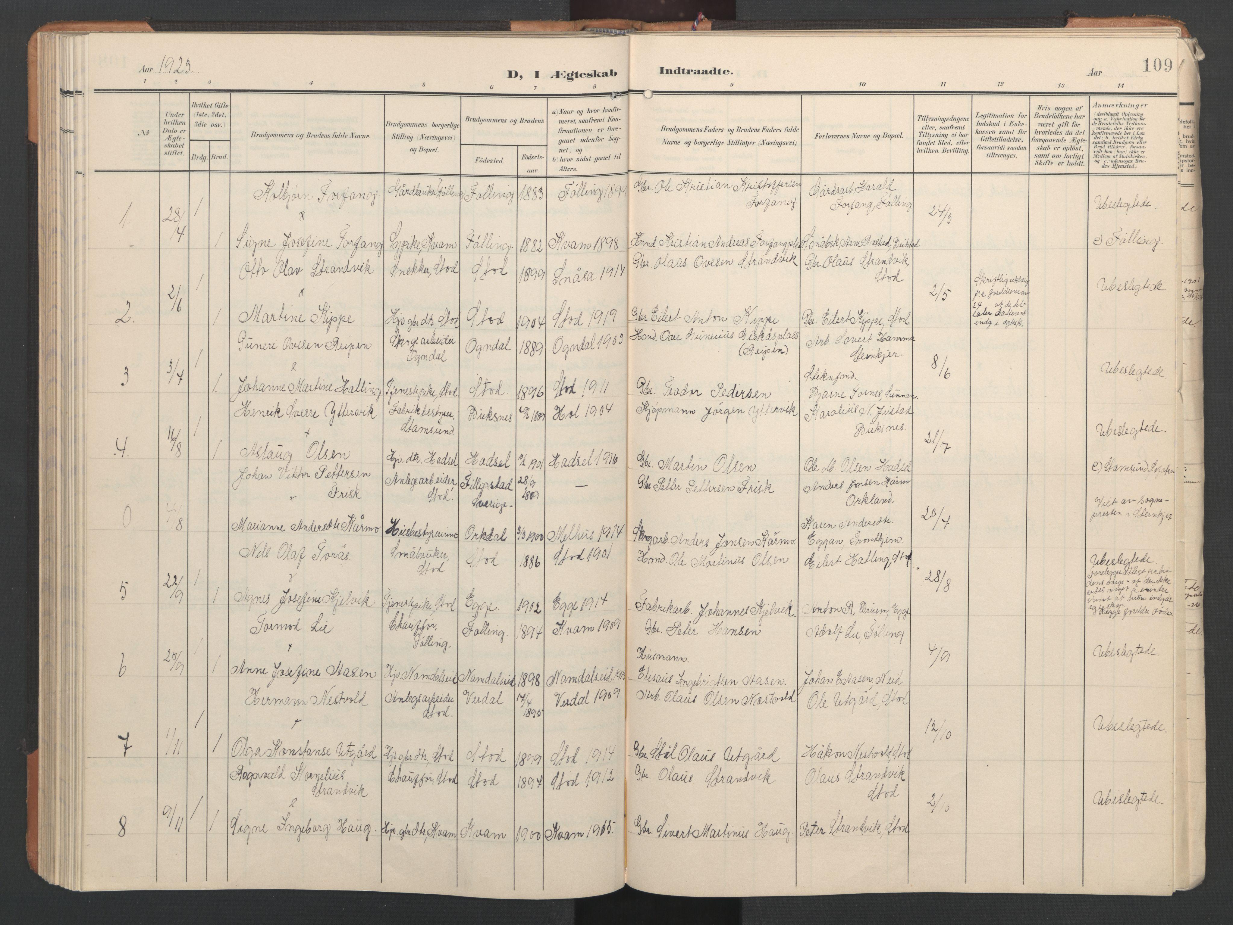 SAT, Ministerialprotokoller, klokkerbøker og fødselsregistre - Nord-Trøndelag, 746/L0455: Klokkerbok nr. 746C01, 1908-1933, s. 109
