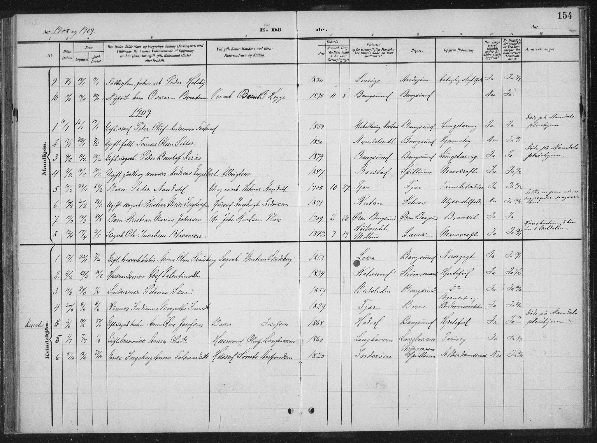 SAT, Ministerialprotokoller, klokkerbøker og fødselsregistre - Nord-Trøndelag, 770/L0591: Klokkerbok nr. 770C02, 1902-1940, s. 154