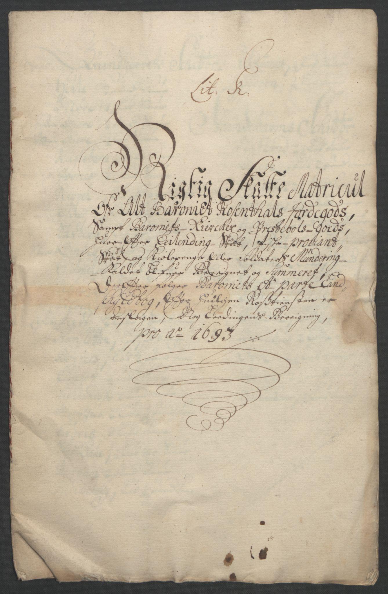 RA, Rentekammeret inntil 1814, Reviderte regnskaper, Fogderegnskap, R49/L3138: Fogderegnskap Rosendal Baroni, 1691-1714, s. 19