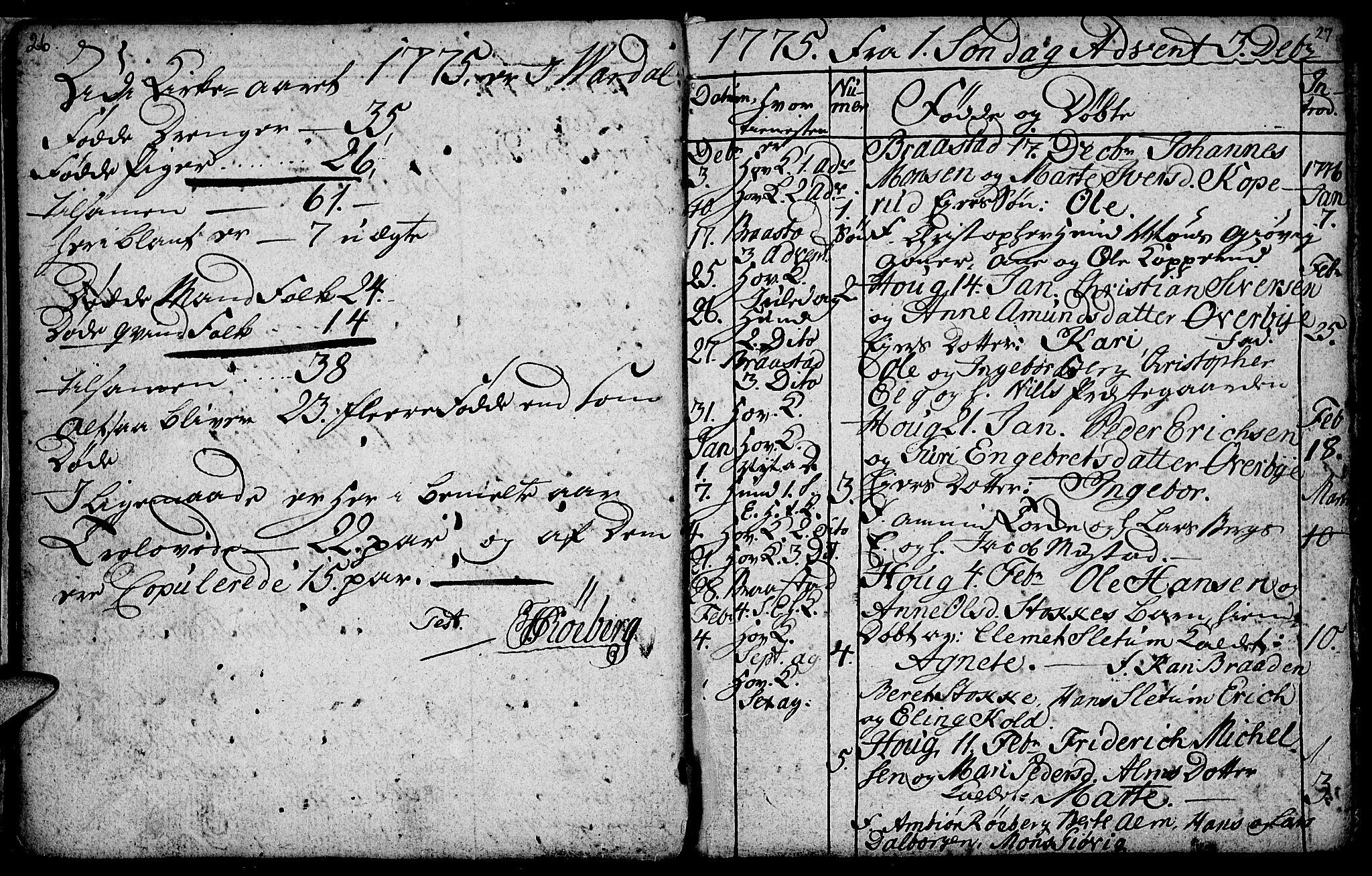 SAH, Vardal prestekontor, H/Ha/Hab/L0001: Klokkerbok nr. 1, 1771-1790, s. 26-27