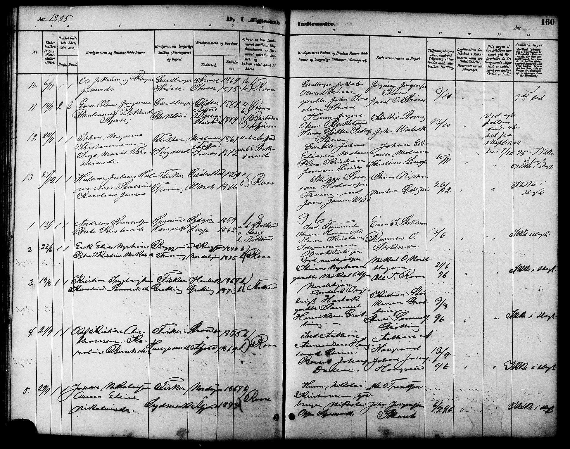 SAT, Ministerialprotokoller, klokkerbøker og fødselsregistre - Sør-Trøndelag, 657/L0716: Klokkerbok nr. 657C03, 1889-1904, s. 160