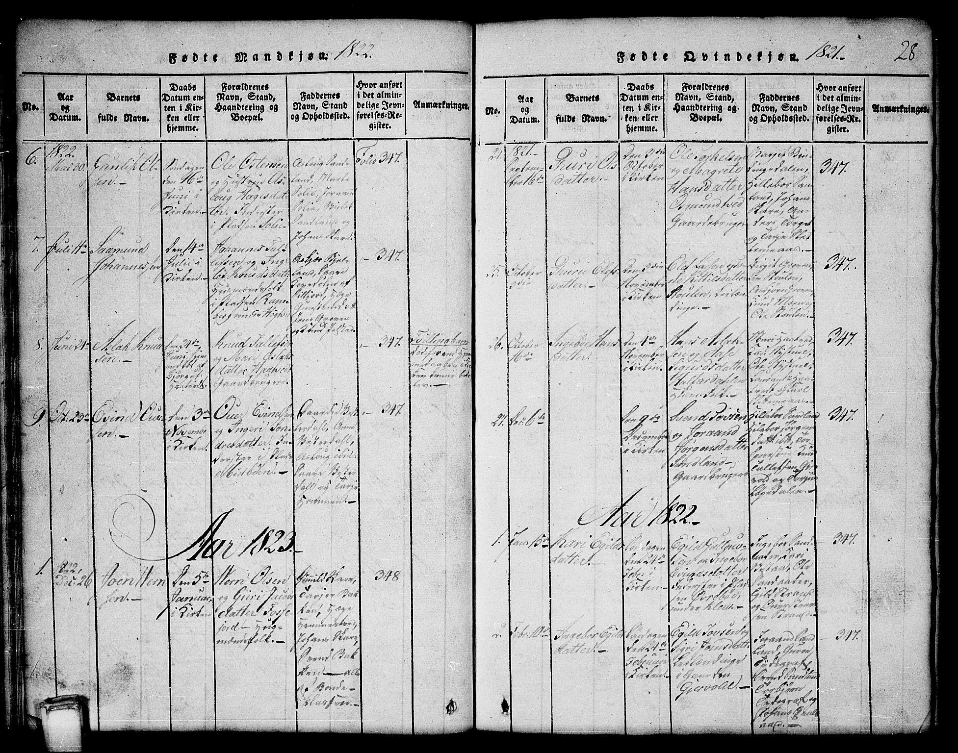 SAKO, Kviteseid kirkebøker, G/Gb/L0001: Klokkerbok nr. II 1, 1815-1842, s. 28