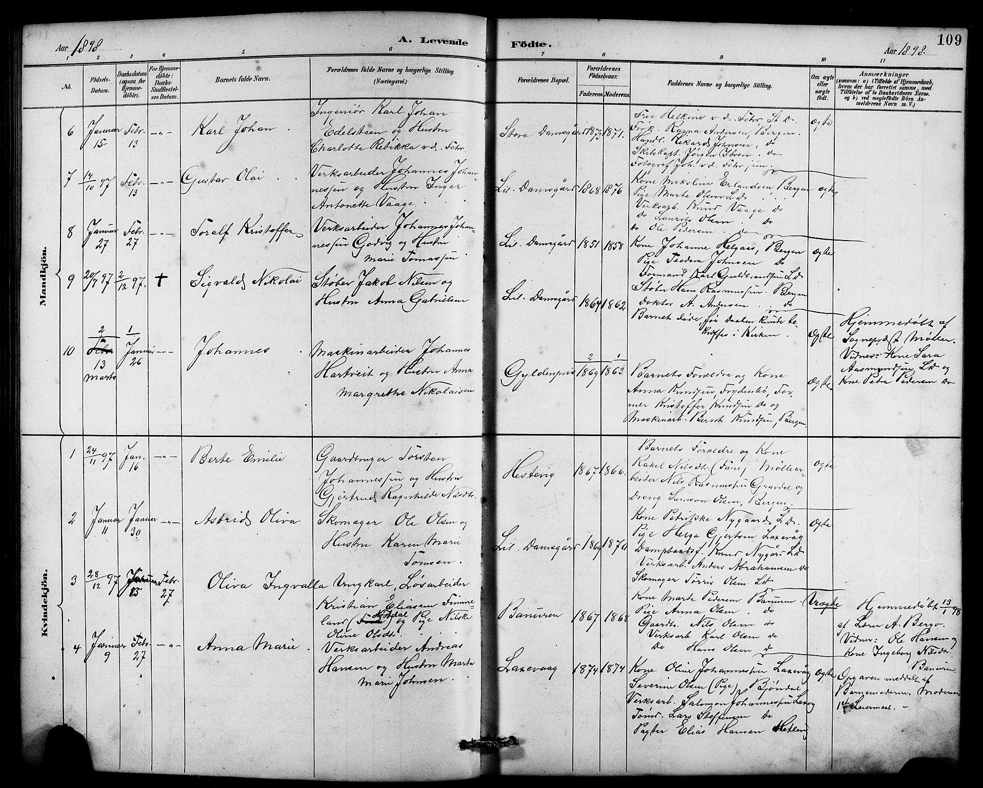 SAB, Laksevåg Sokneprestembete, H/Ha/Hab/Haba/L0003: Klokkerbok nr. A 3, 1887-1899, s. 109