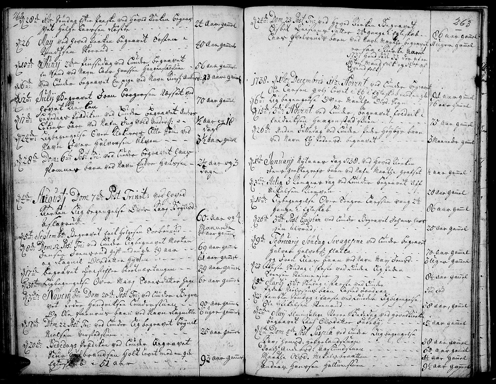 SAH, Jevnaker prestekontor, Ministerialbok nr. 2, 1725-1751, s. 262-263