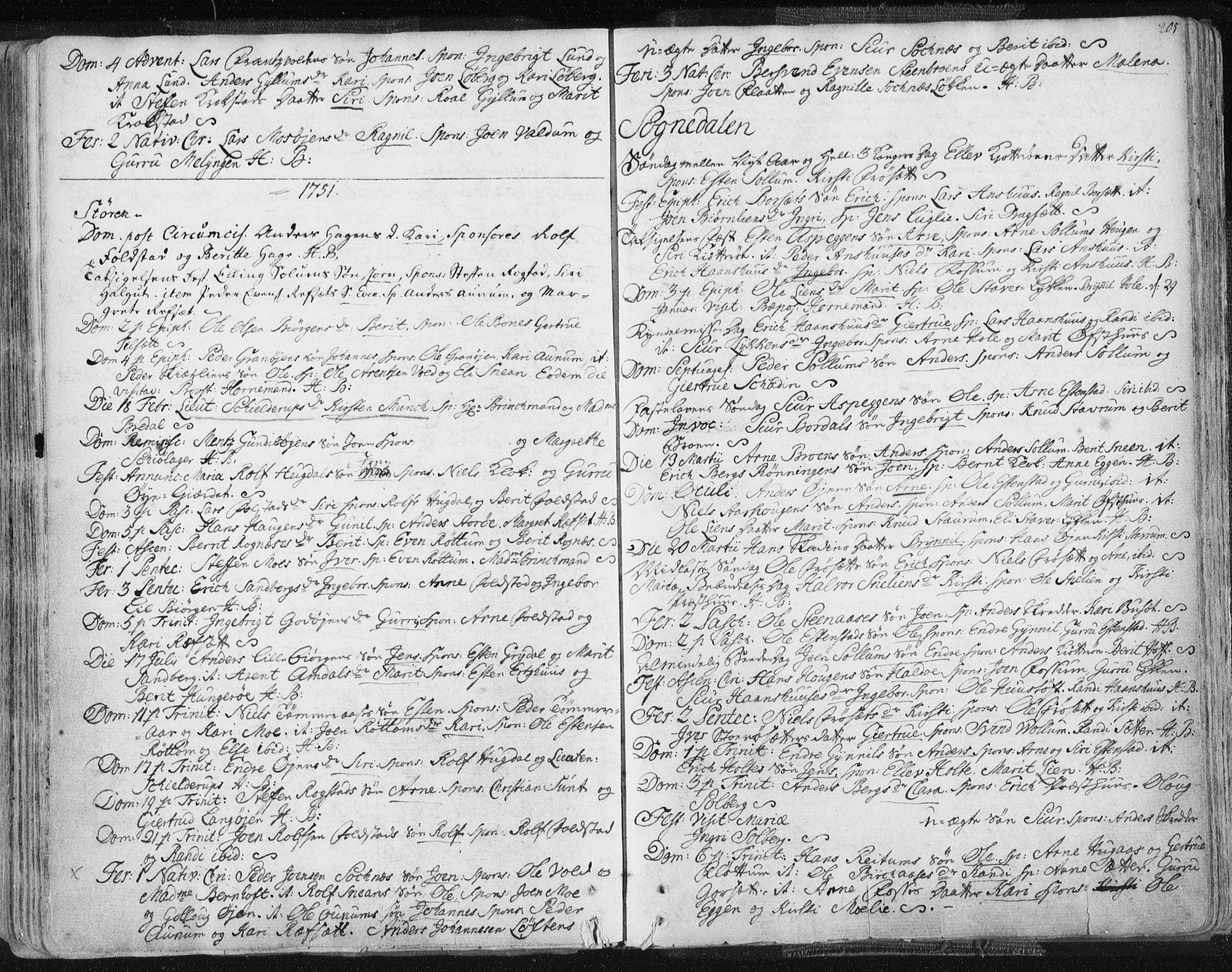SAT, Ministerialprotokoller, klokkerbøker og fødselsregistre - Sør-Trøndelag, 687/L0991: Ministerialbok nr. 687A02, 1747-1790, s. 205
