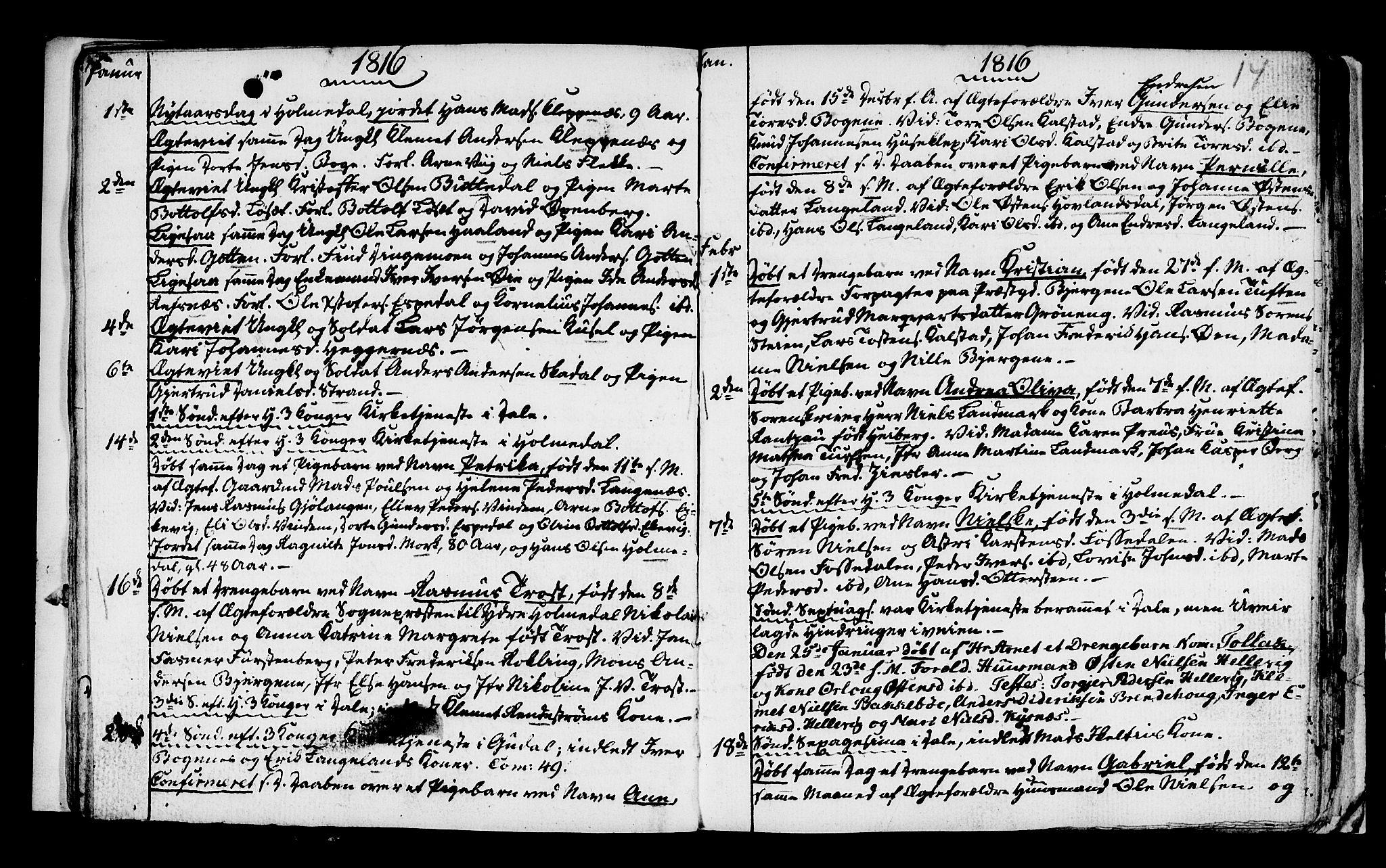 SAB, Fjaler sokneprestembete, H/Haa: Ministerialbok nr. A 4, 1814-1821, s. 14