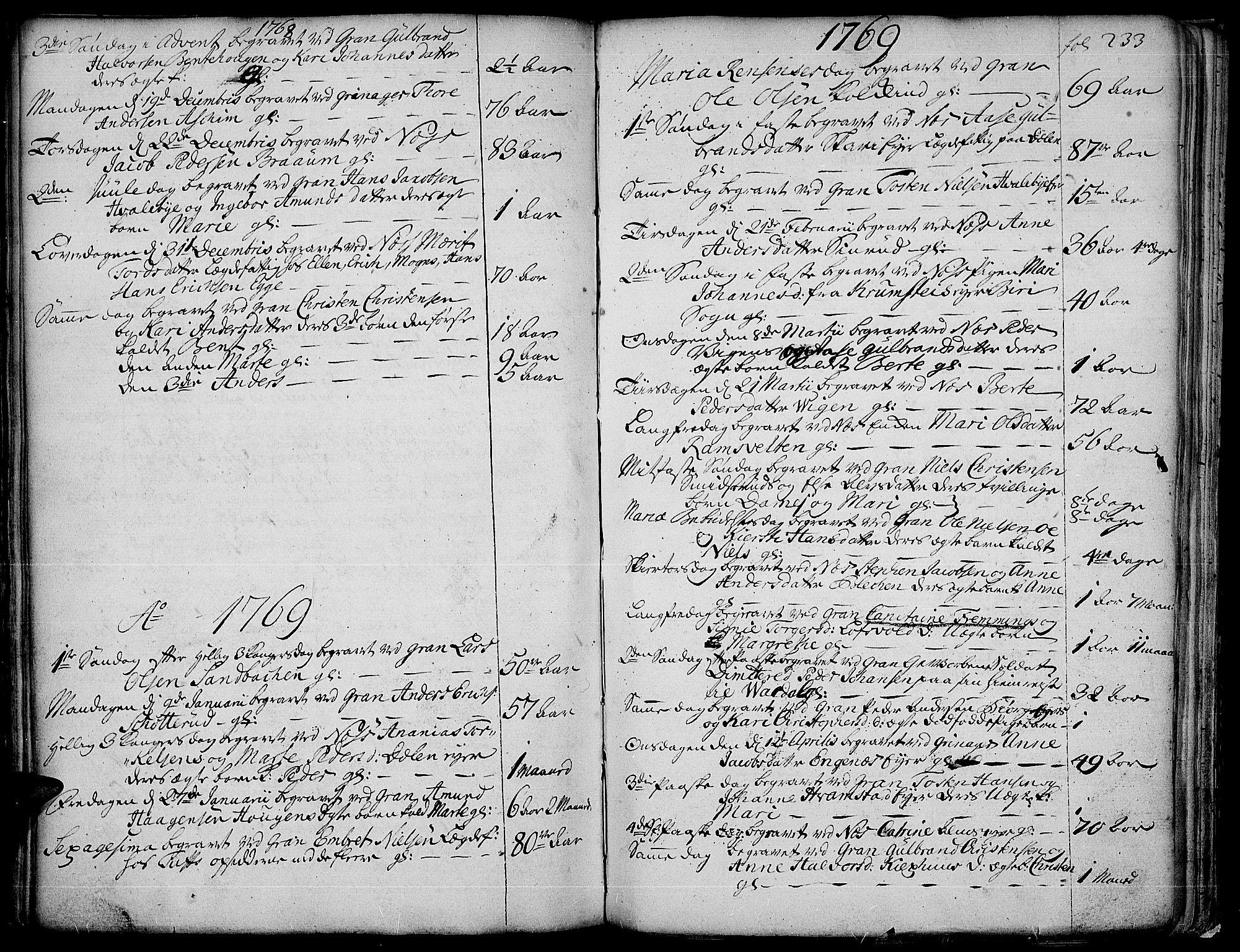 SAH, Gran prestekontor, Ministerialbok nr. 4, 1759-1775, s. 233